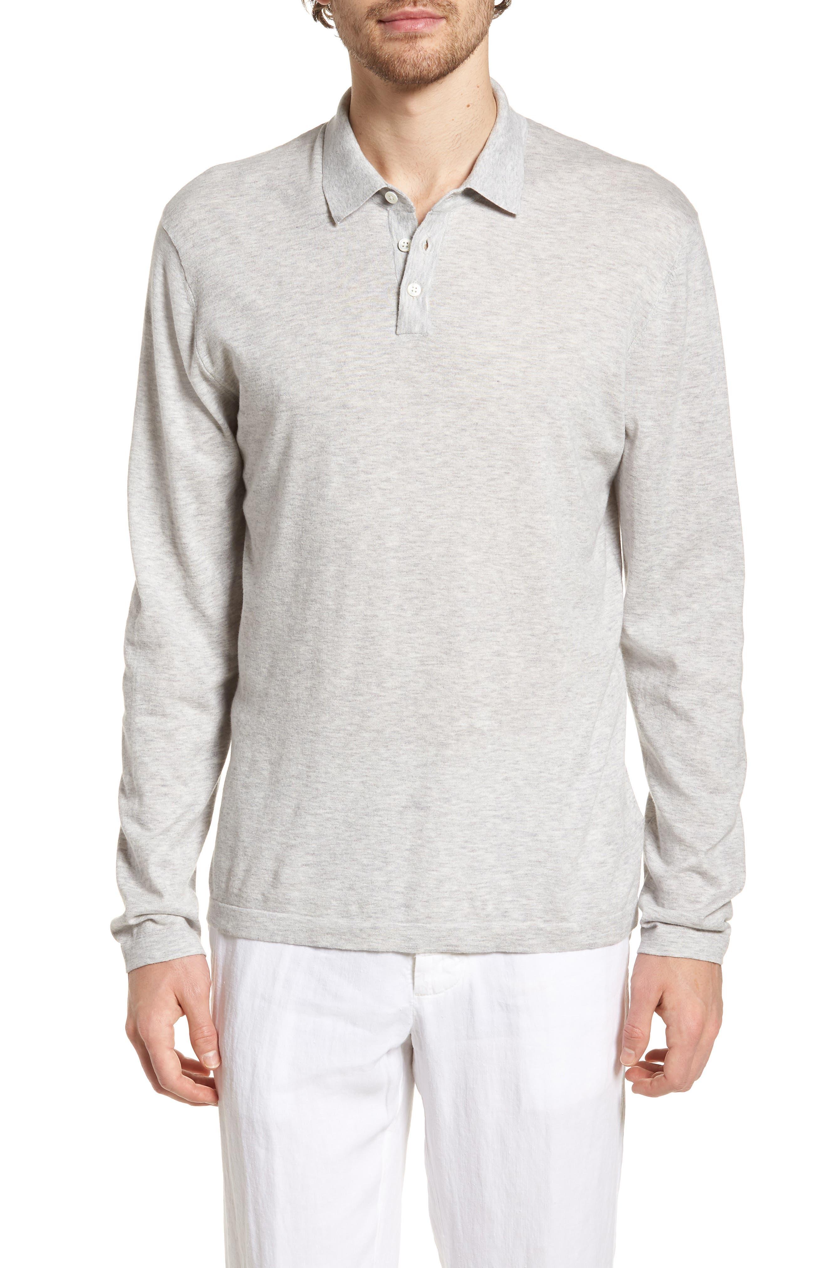 Fine Gauge Regular Fit Cotton Polo,                             Main thumbnail 1, color,                             Platinum