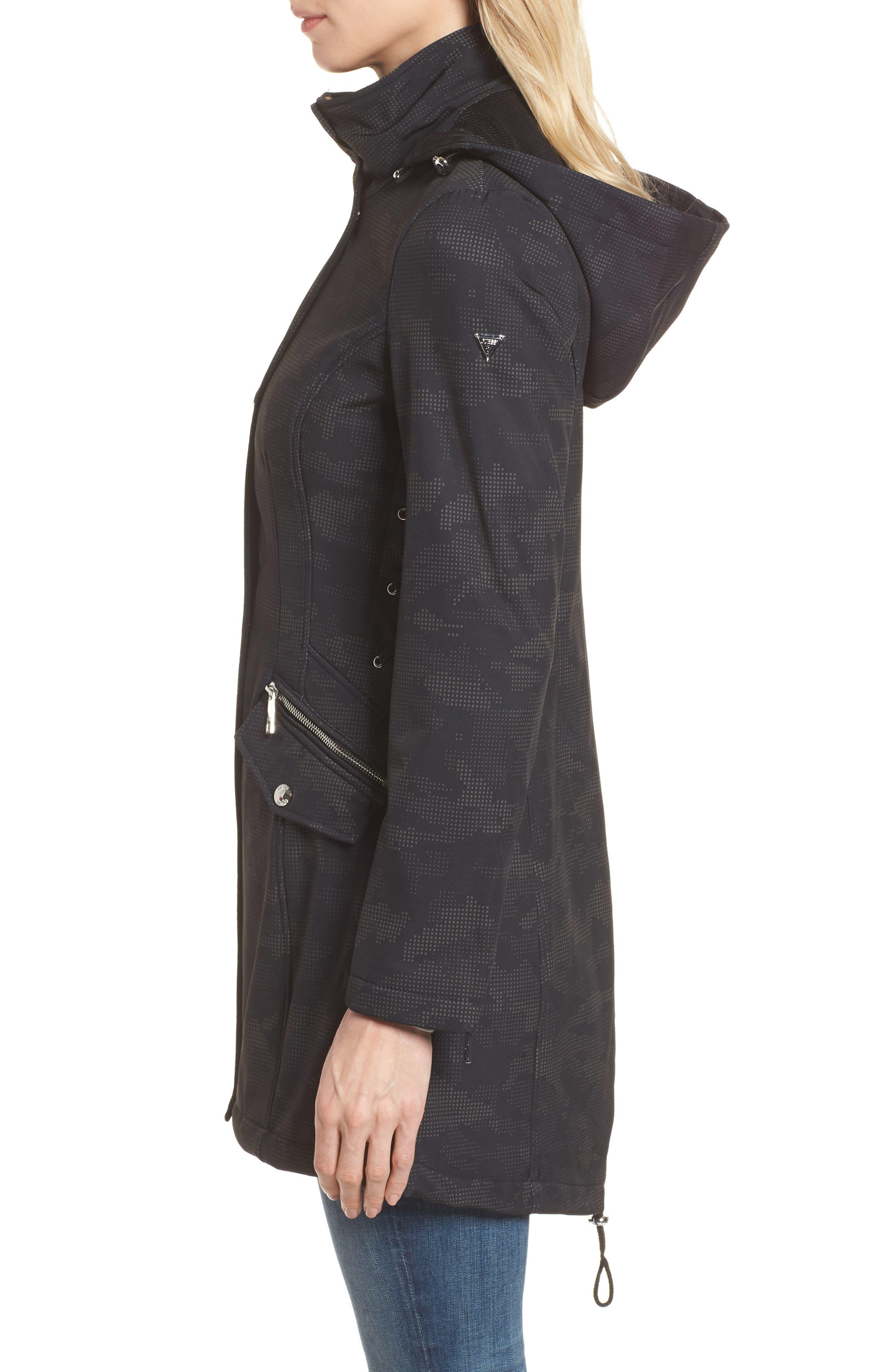 Lace-Up Hooded Jacket,                             Alternate thumbnail 3, color,                             Black Print