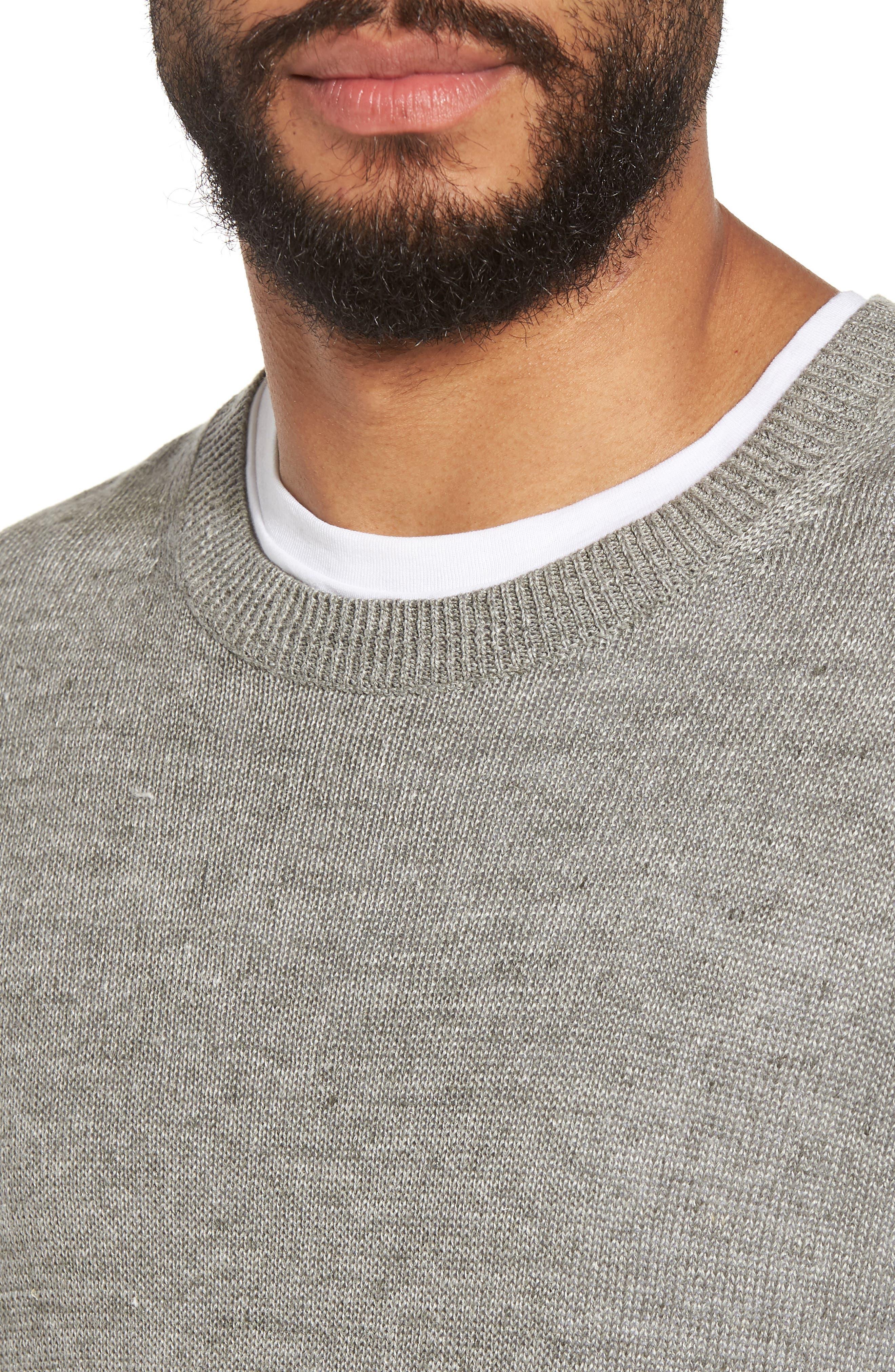Slim Fit Linen Crewneck Sweater,                             Alternate thumbnail 4, color,                             Silver