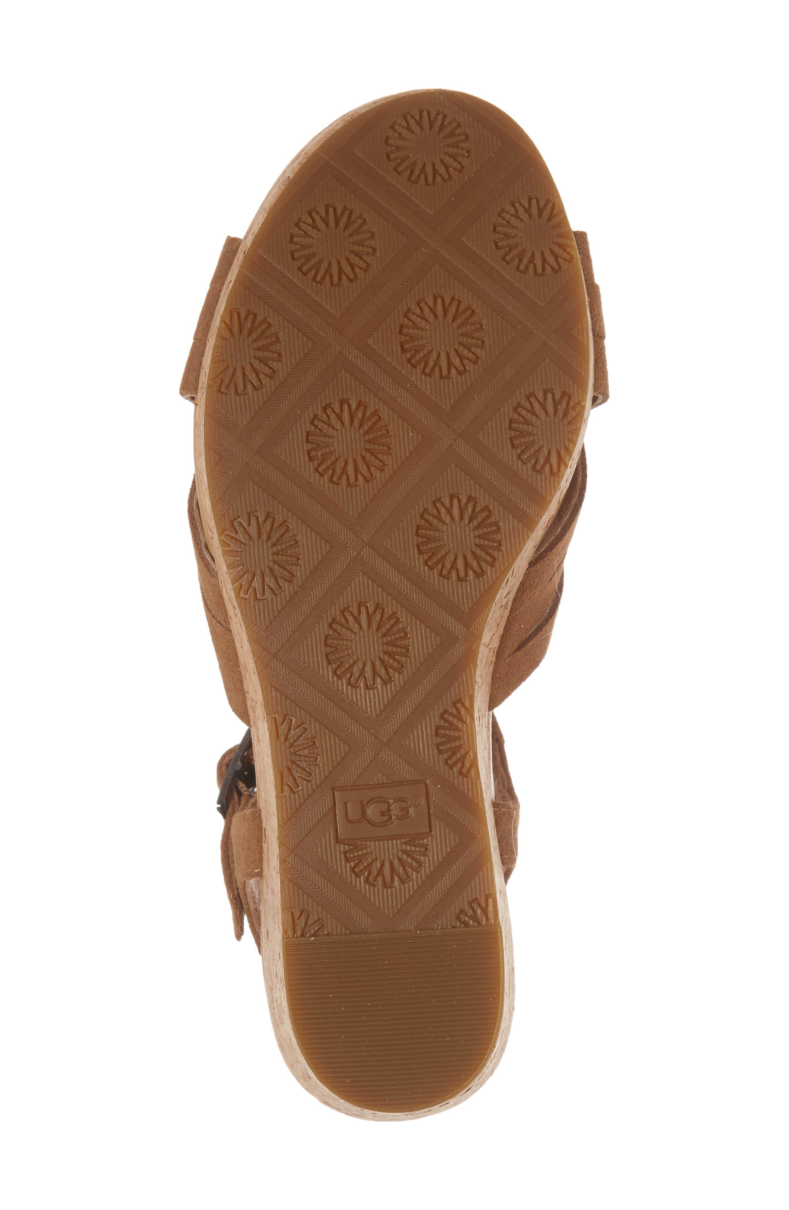 Uma Wedge Sandal,                             Alternate thumbnail 6, color,                             Chestnut Suede