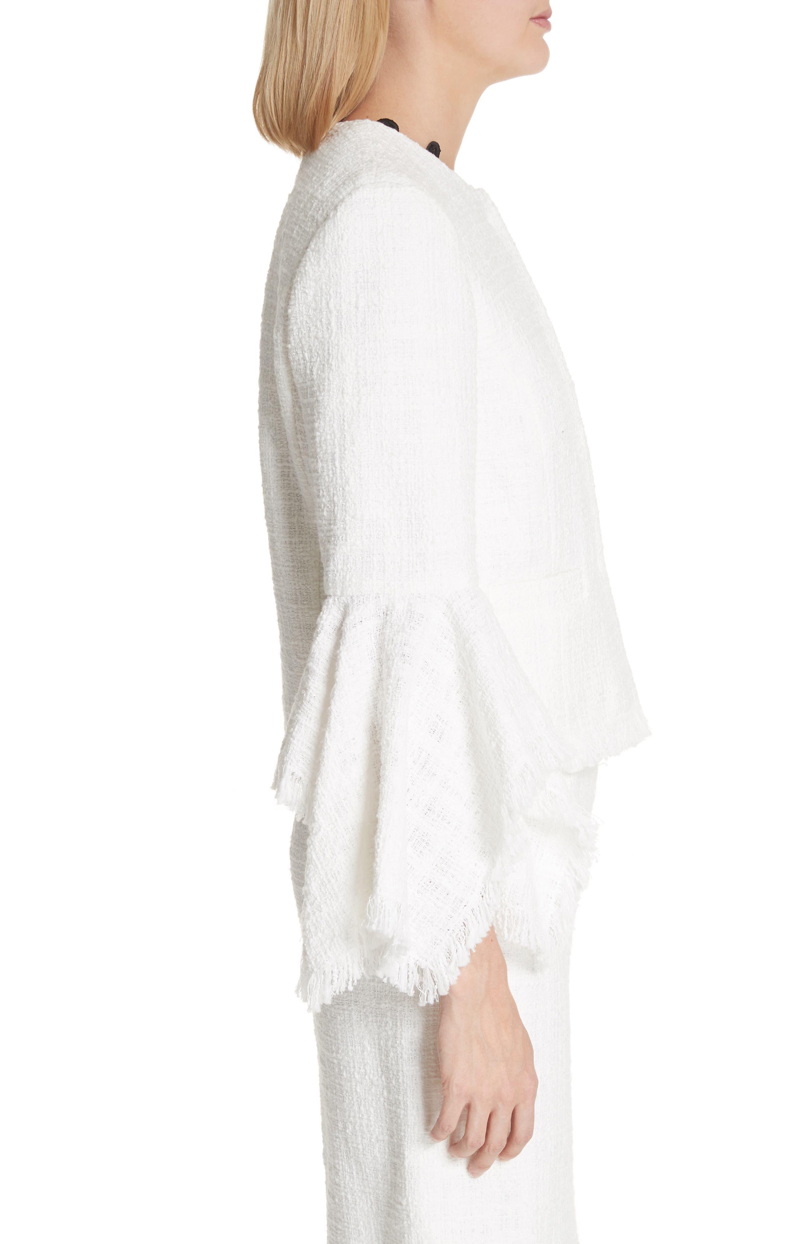 Ribbon Tweed Cascade Cuff Jacket,                             Alternate thumbnail 6, color,                             Ivory