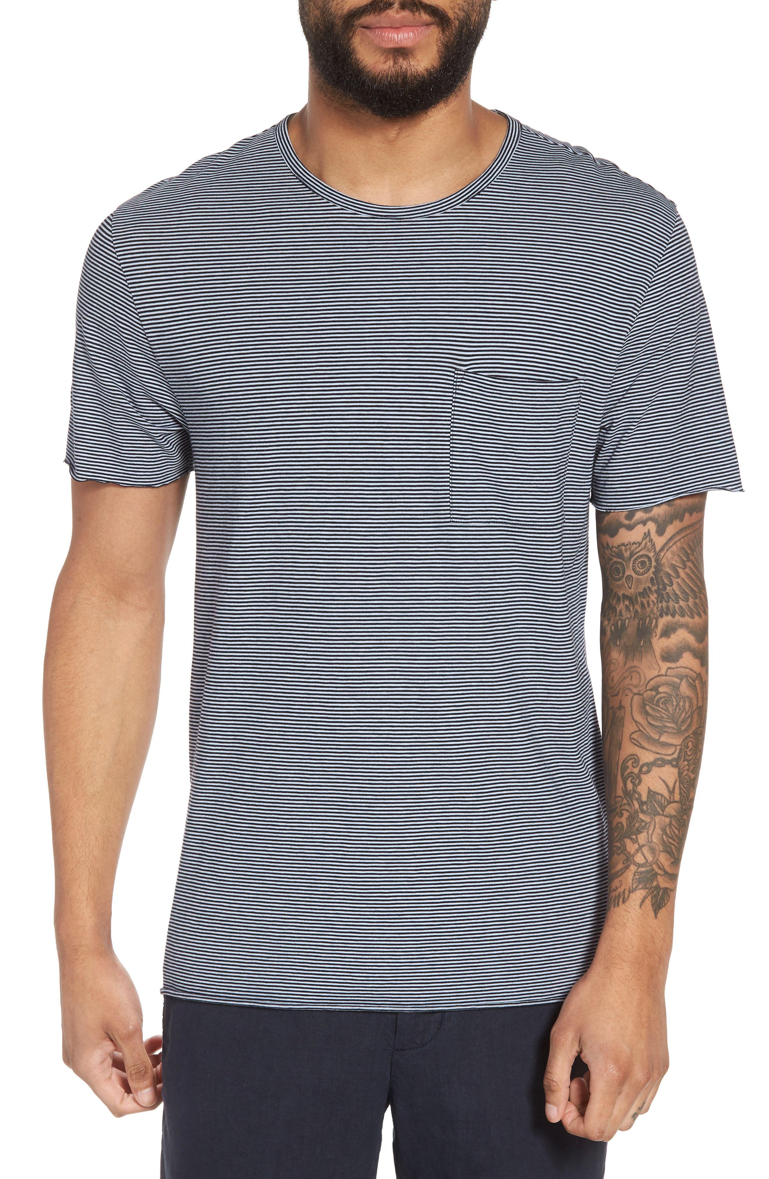 Slim Fit Stripe Pocket T-Shirt,                             Main thumbnail 1, color,                             New Coastal/ Feather