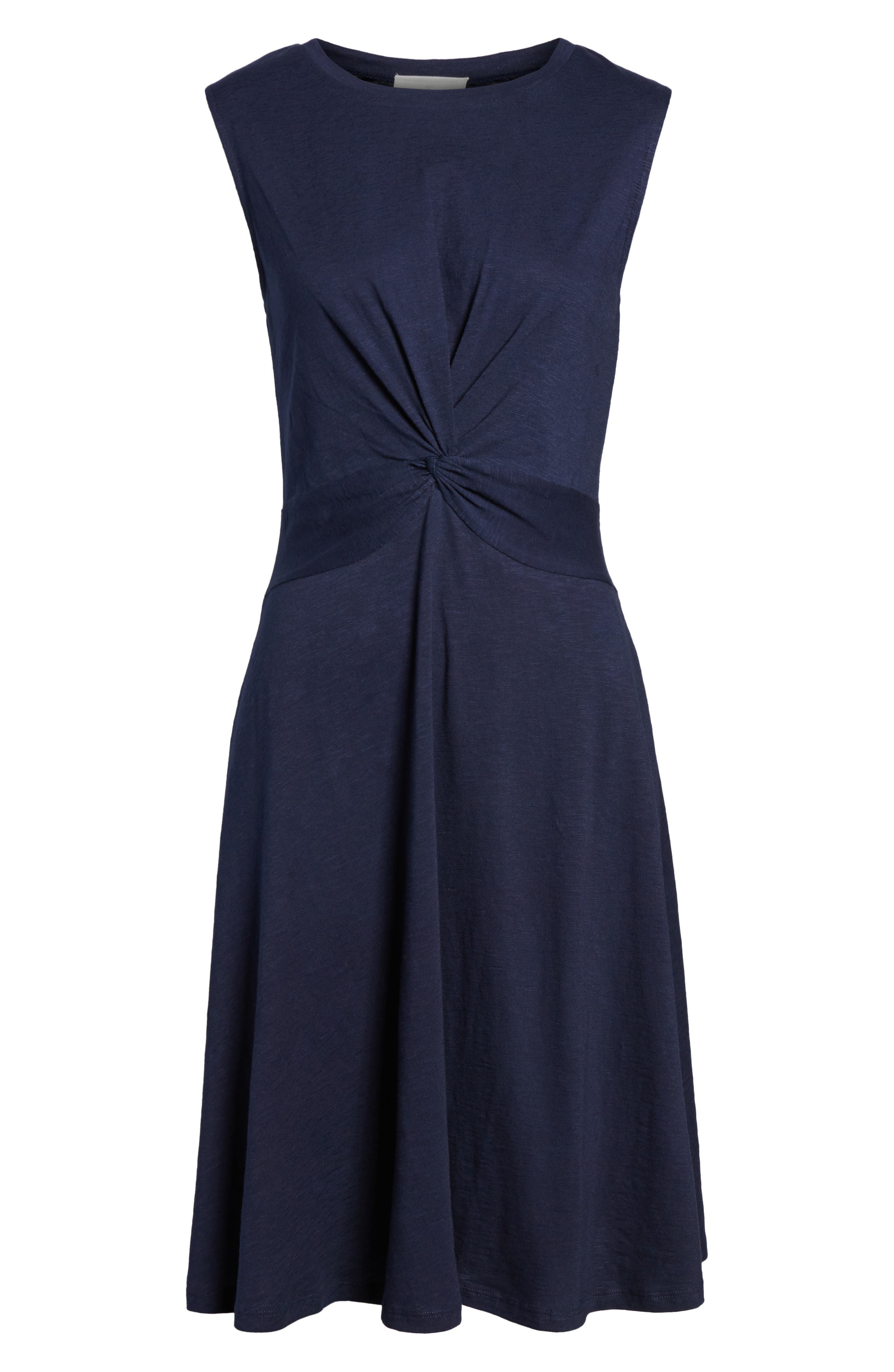 Twist Front Knit Dress,                             Alternate thumbnail 7, color,                             Navy Peacoat