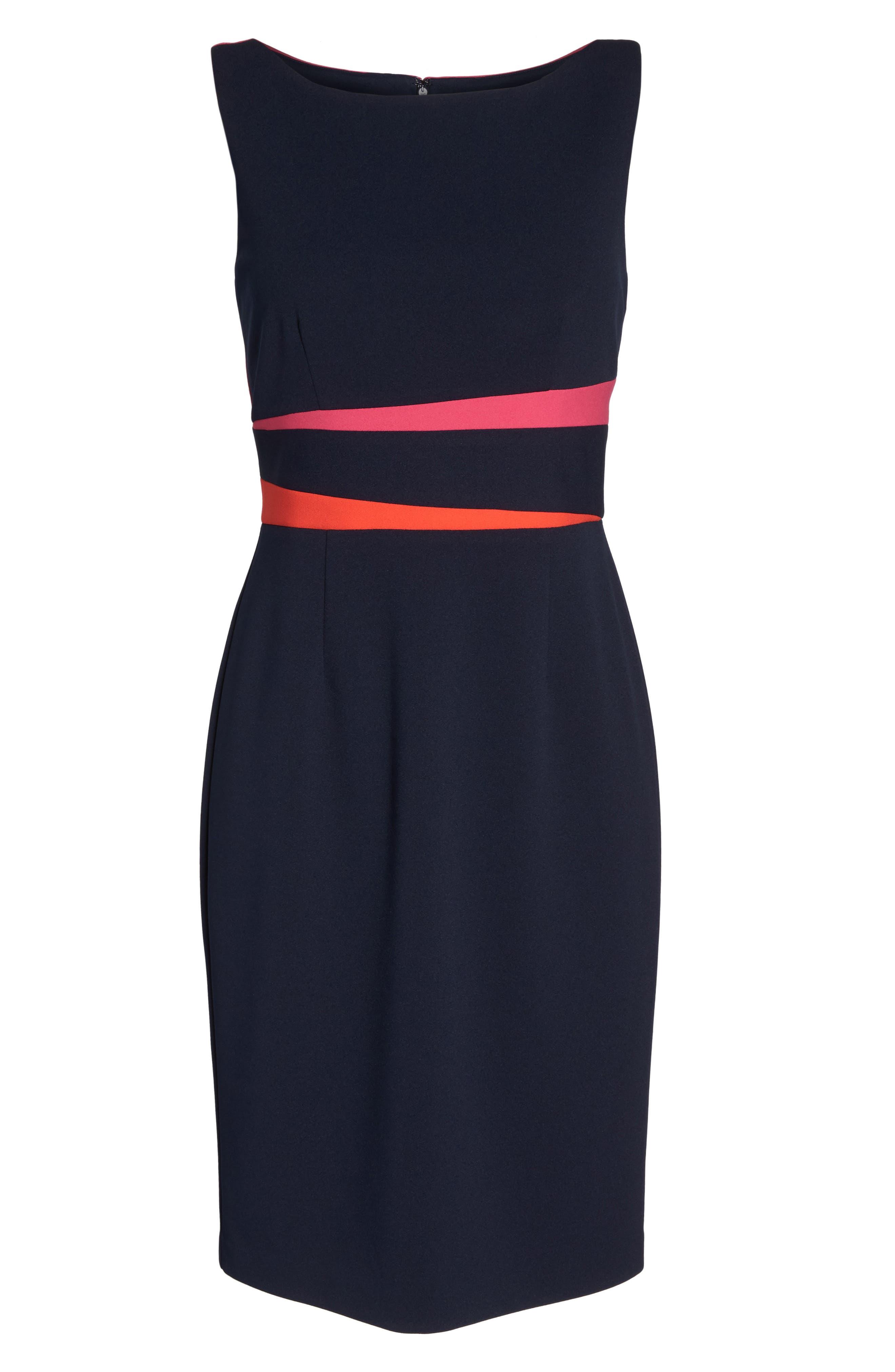 Sleeveless Colorblock Dress,                             Alternate thumbnail 6, color,                             Navy/ Pink