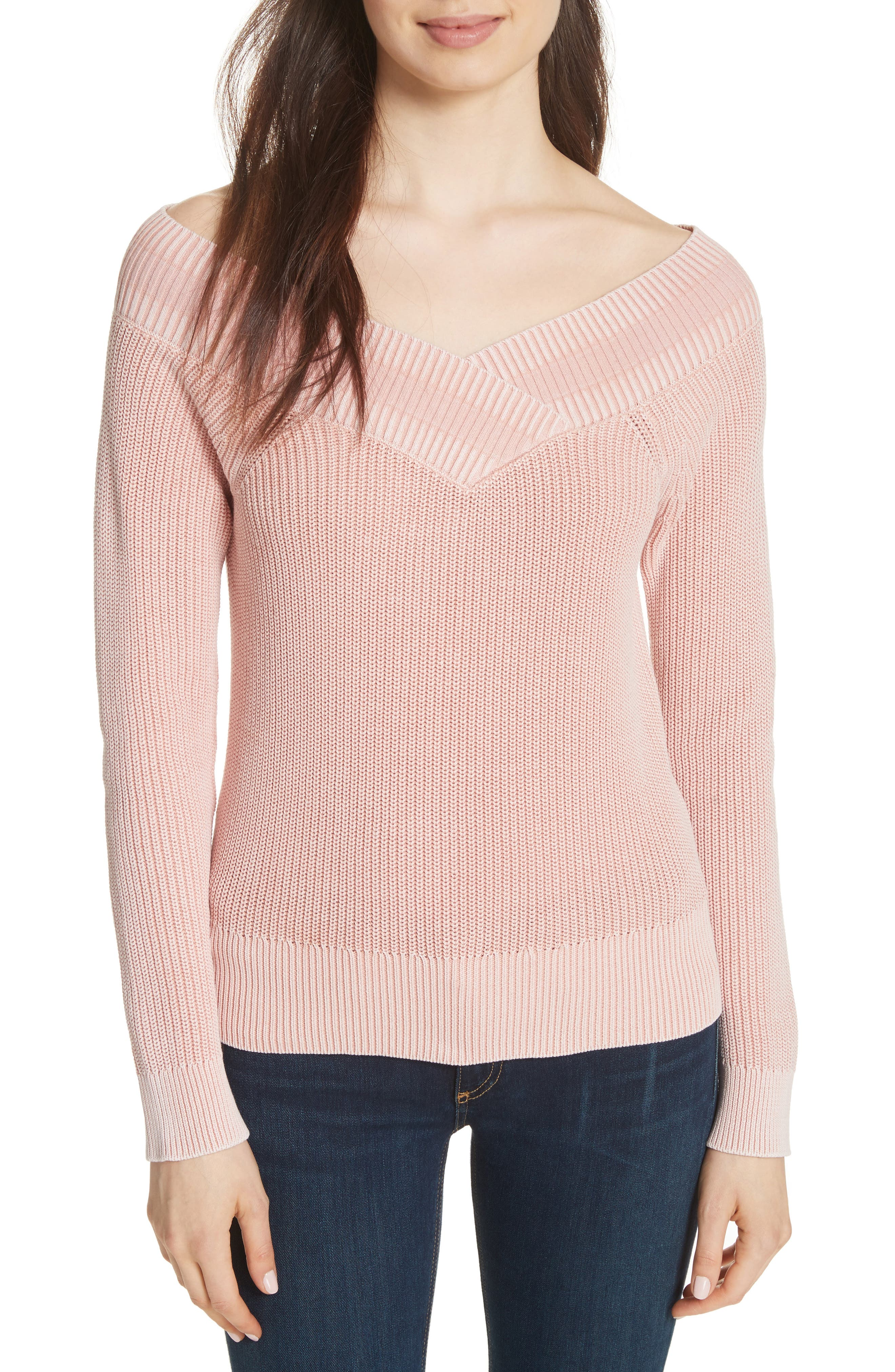 Dawn Off the Shoulder Knit Top,                             Main thumbnail 1, color,                             Pink