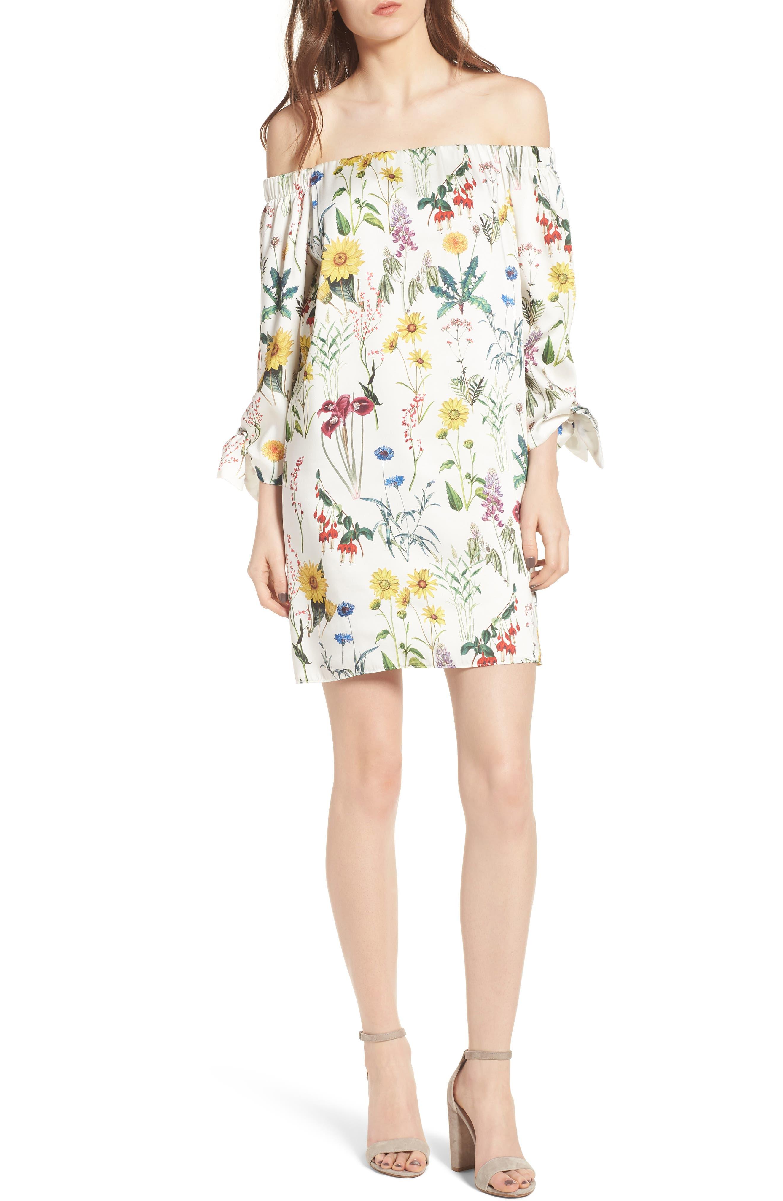 Botanical Off the Shoulder Shift Dress,                         Main,                         color, Botanical Print/ Chalk