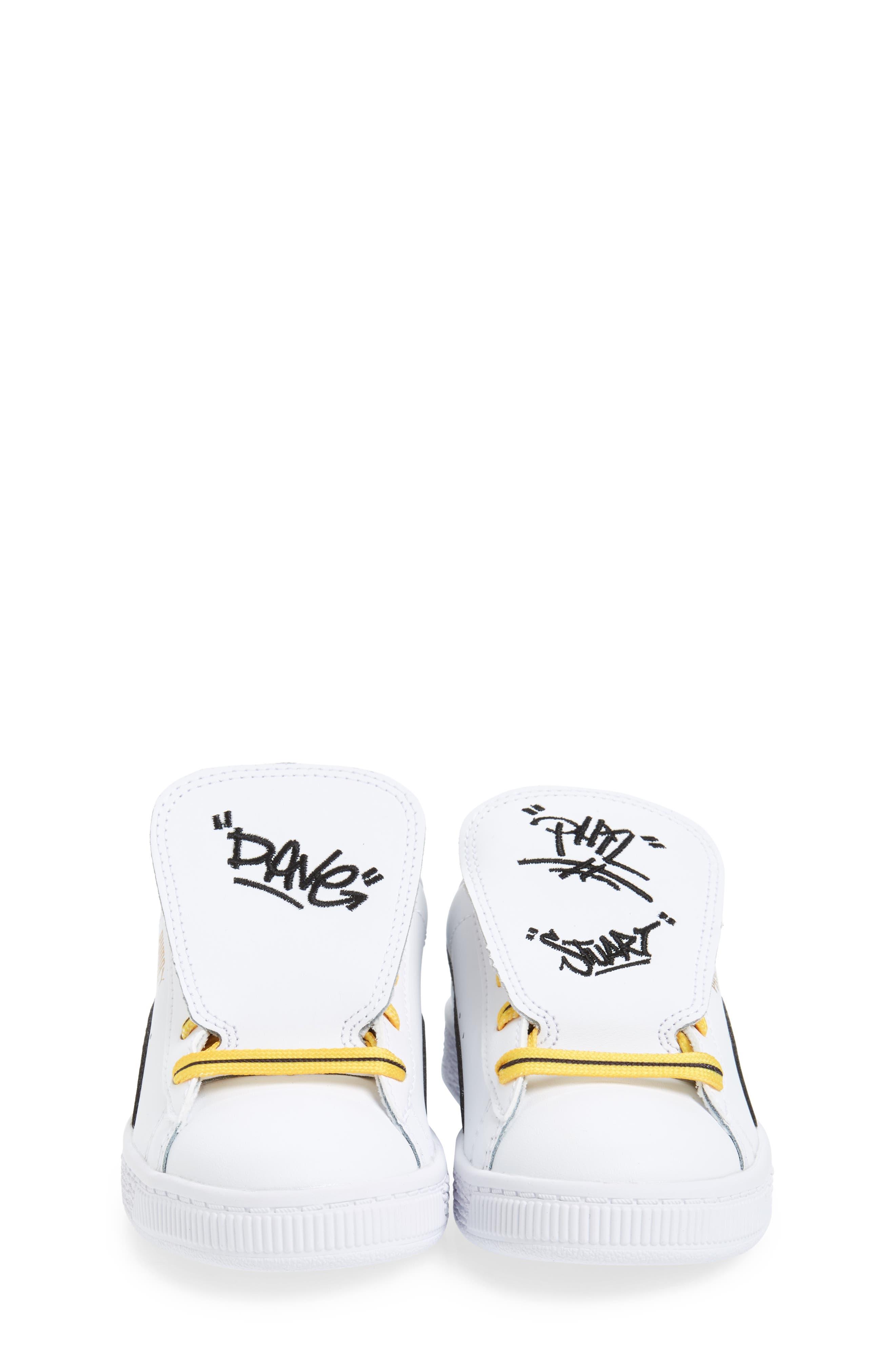 x Minions Basket Embroidered Tongue Sneaker,                             Alternate thumbnail 5, color,                             White/ Black/ Minion Yellow