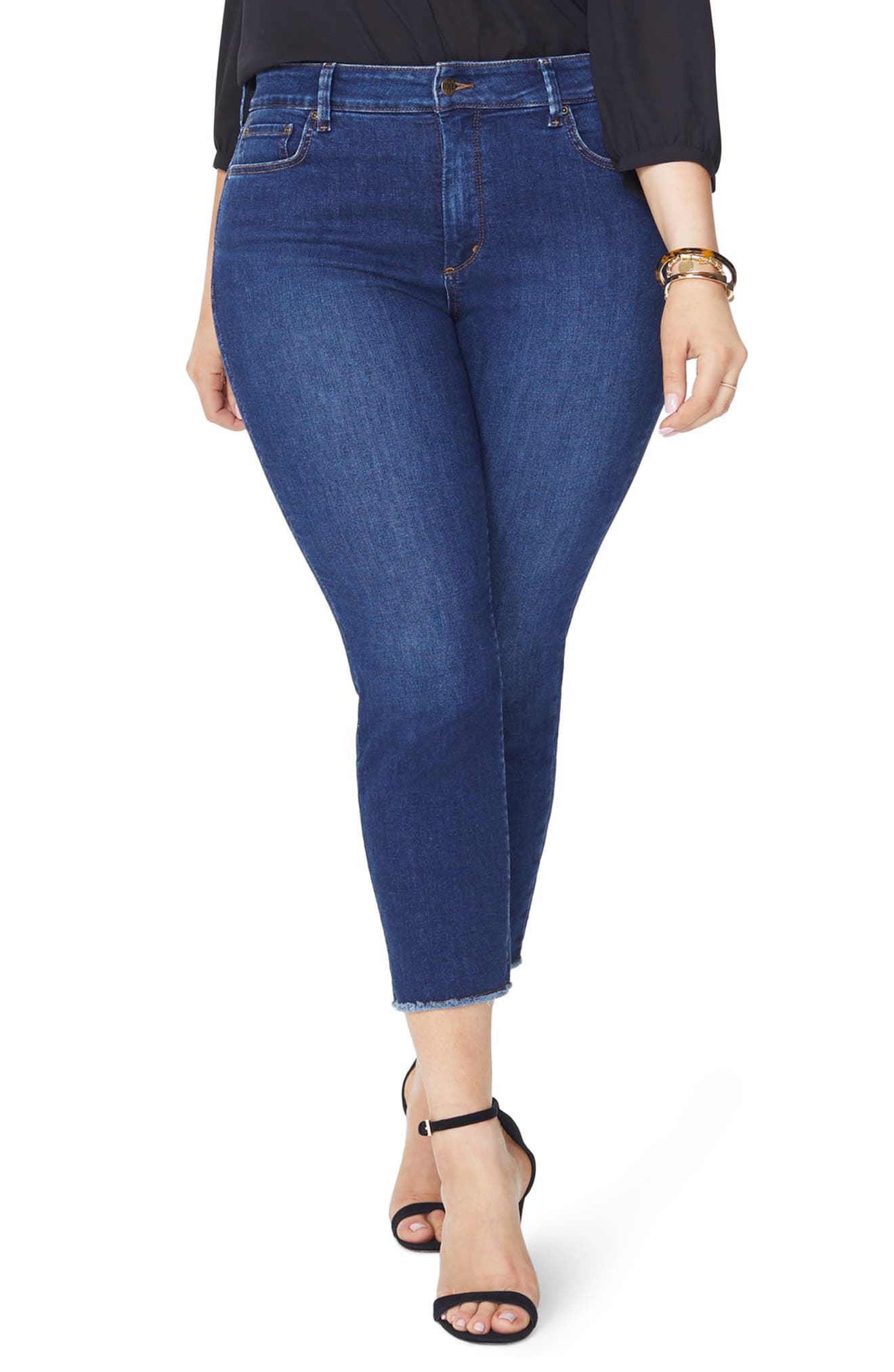 Sheri Fray Hem Stretch Slim Ankle Jeans,                             Main thumbnail 1, color,                             Cooper
