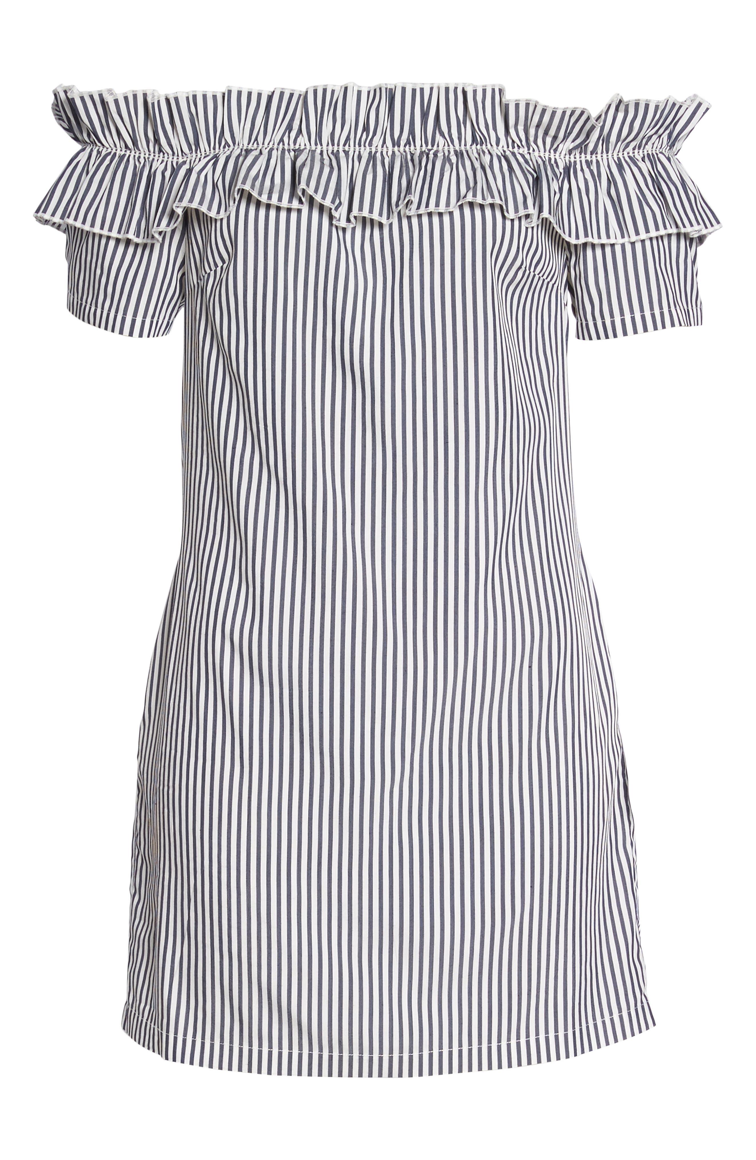 Patio Only Stripe Minidress,                             Alternate thumbnail 6, color,                             Navy/ White Mini Stripe