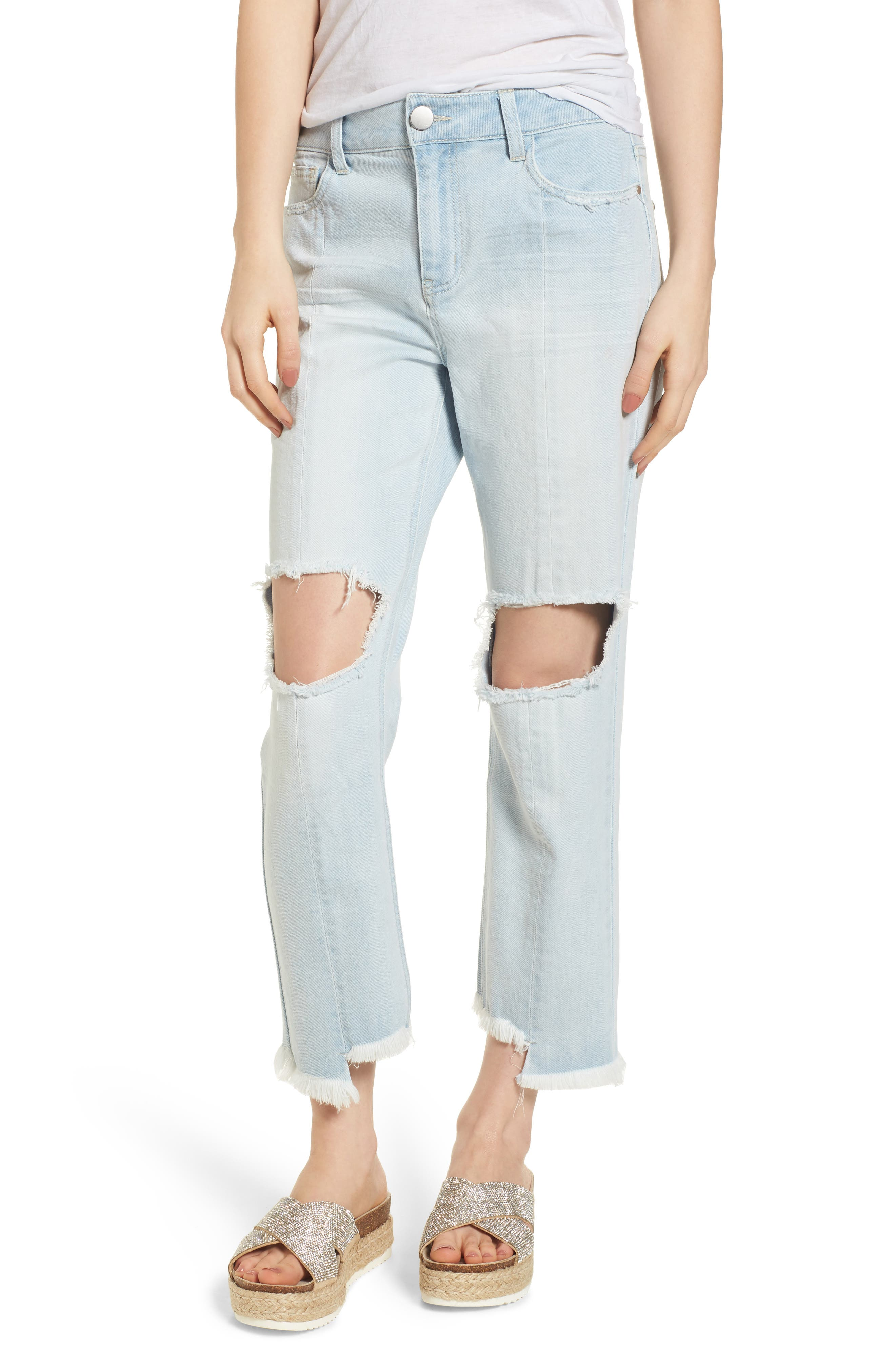 Ripped Boyfriend Jeans,                         Main,                         color, Super Light Wash