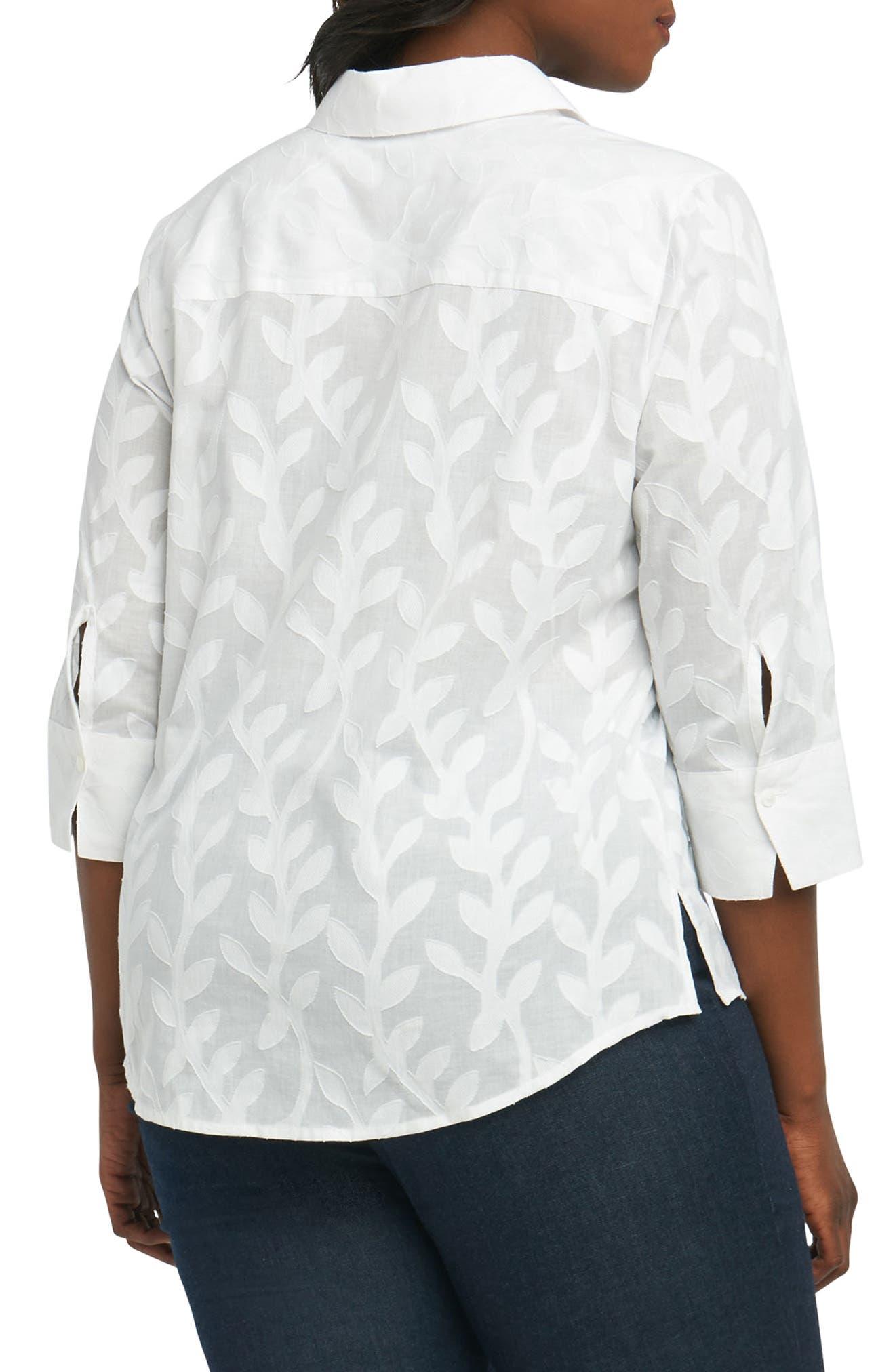 Mary Palm Jacquard Shirt,                             Alternate thumbnail 2, color,                             White