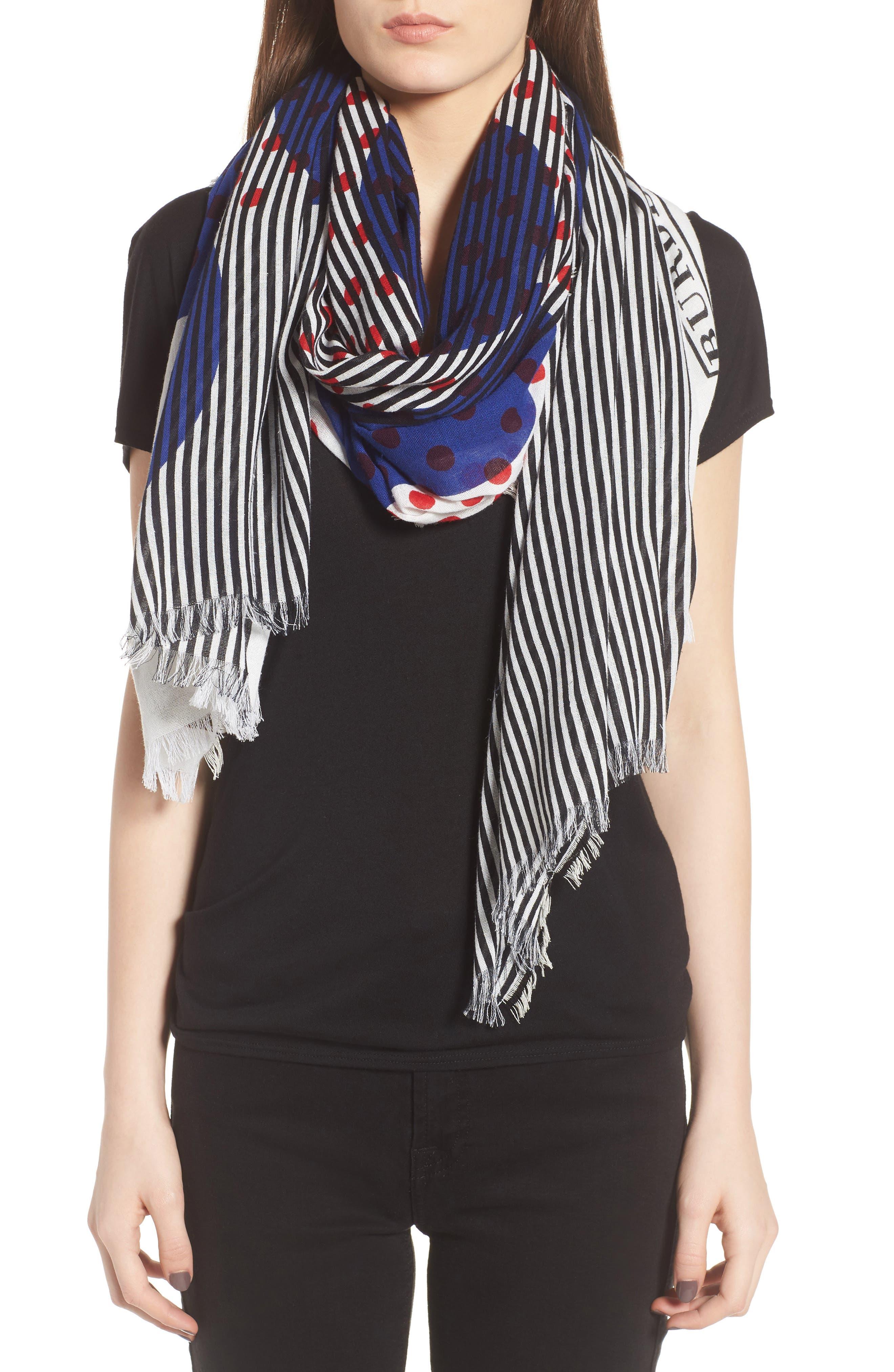 Alternate Image 2  - Burberry Half Stripe Dot Cotton & Silk Scarf