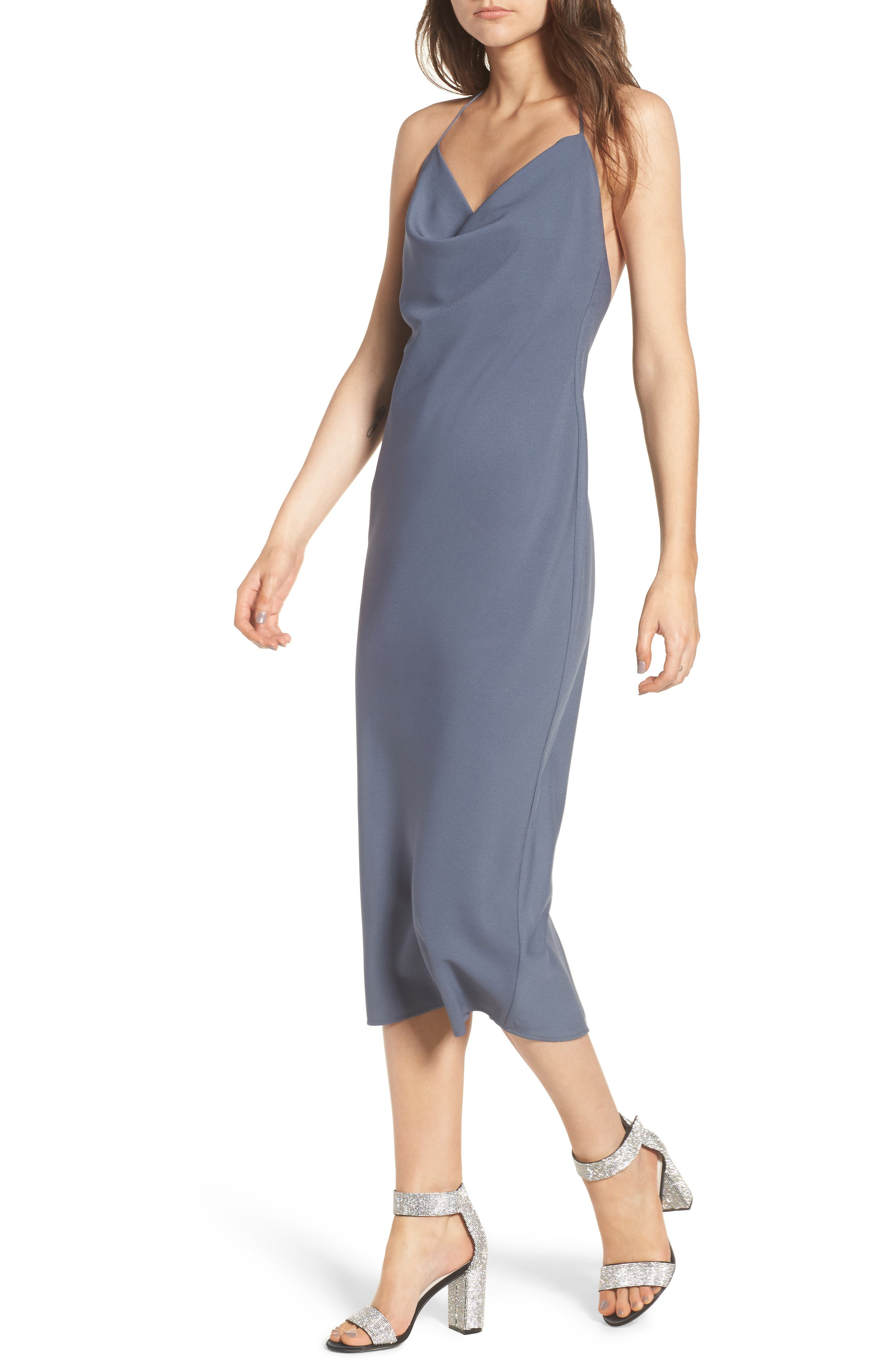 Cowl Neck Midi Dress,                             Main thumbnail 1, color,                             Grey Grisaille
