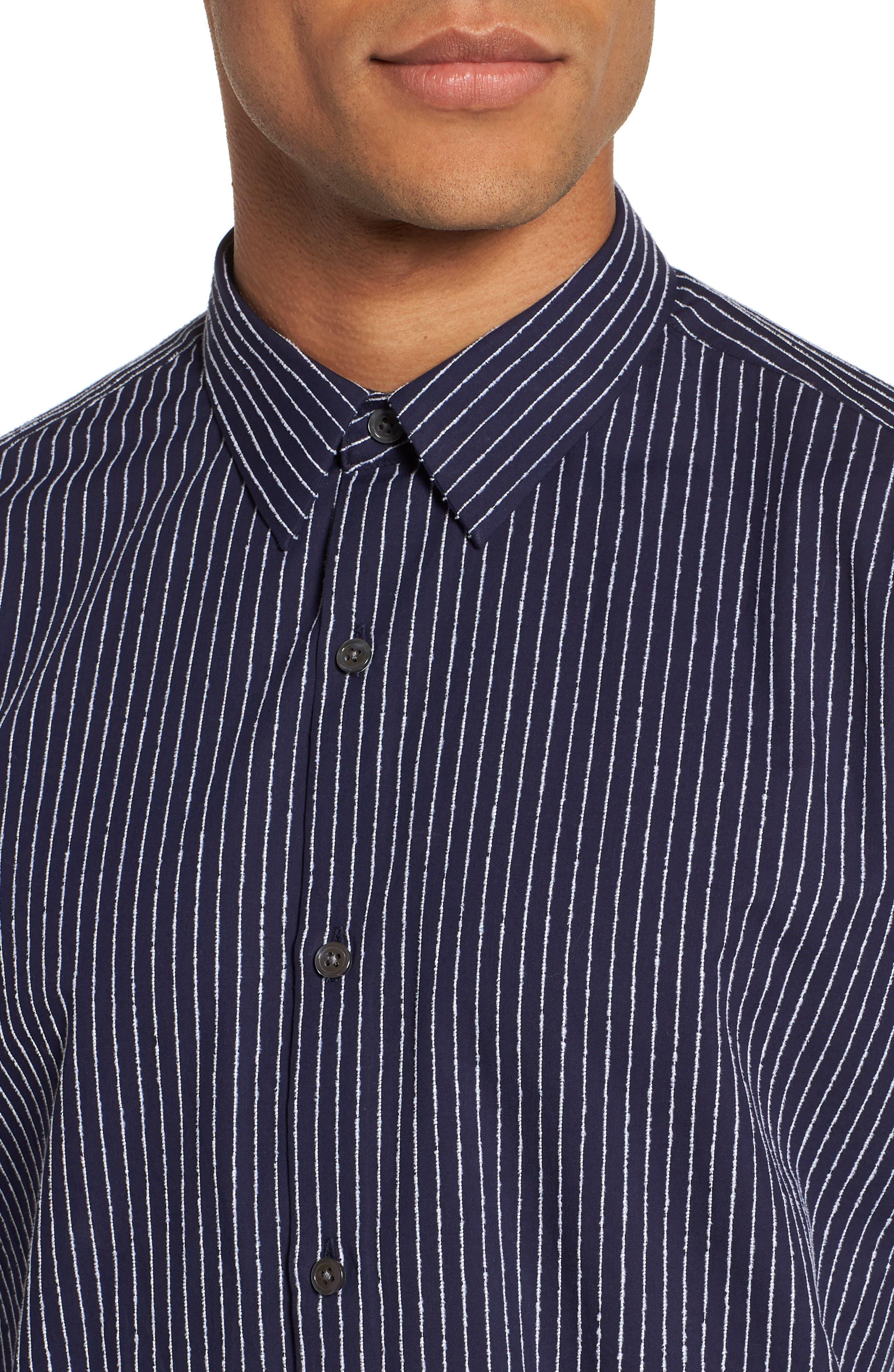 Irving Chenille Stripe Sport Shirt,                             Alternate thumbnail 4, color,                             Eclipse Stripe