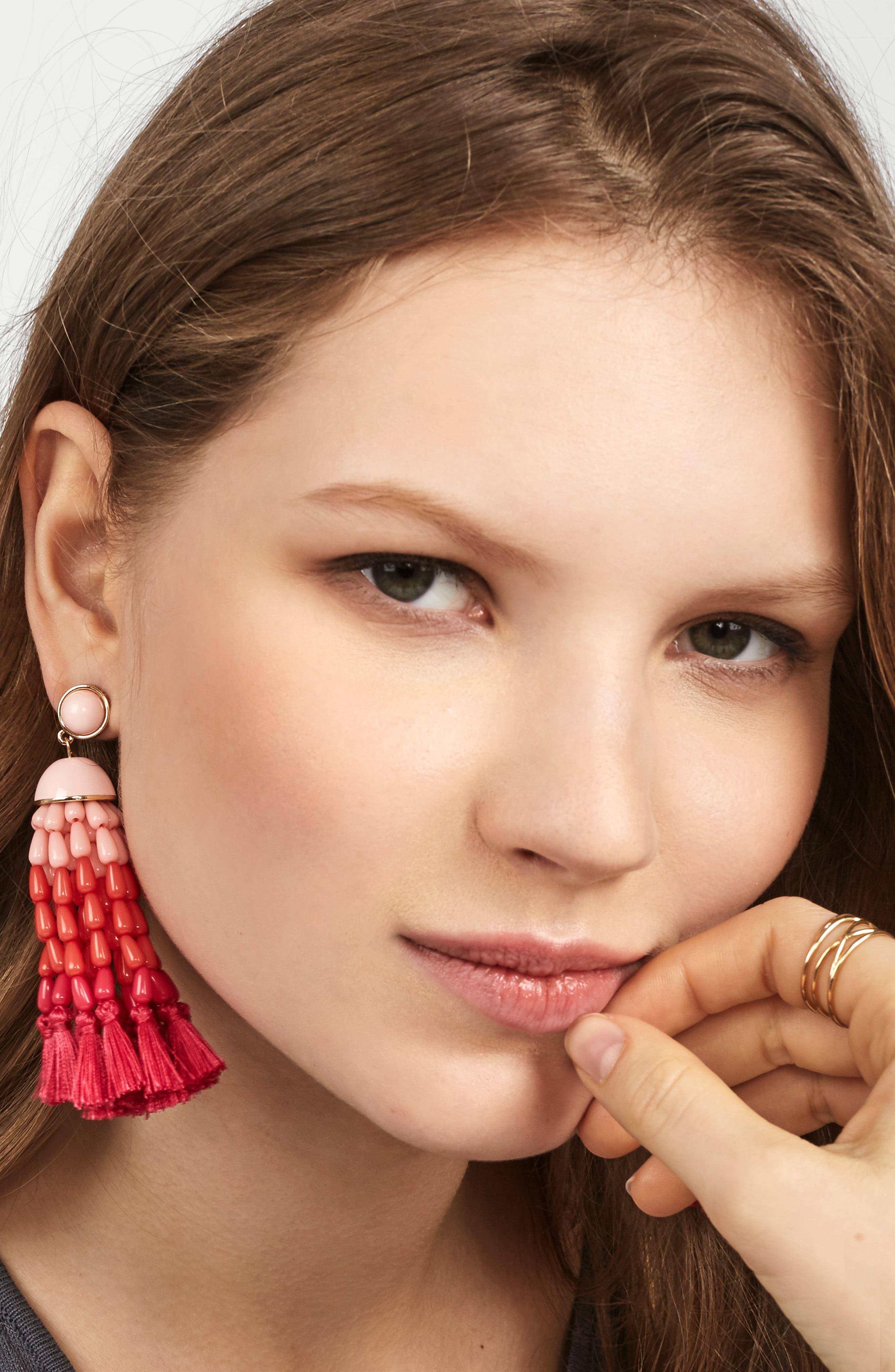 Margarita Beaded Tassel Earrings,                             Alternate thumbnail 2, color,                             Coral Ombre