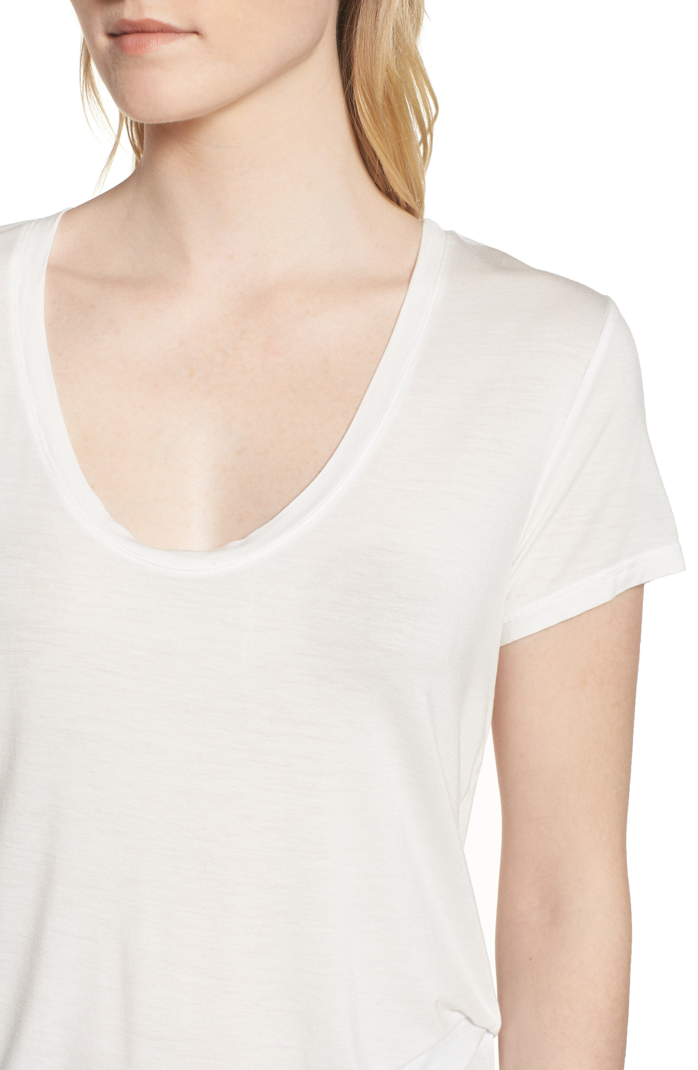 Deep U-Neck Tee,                             Alternate thumbnail 4, color,                             White