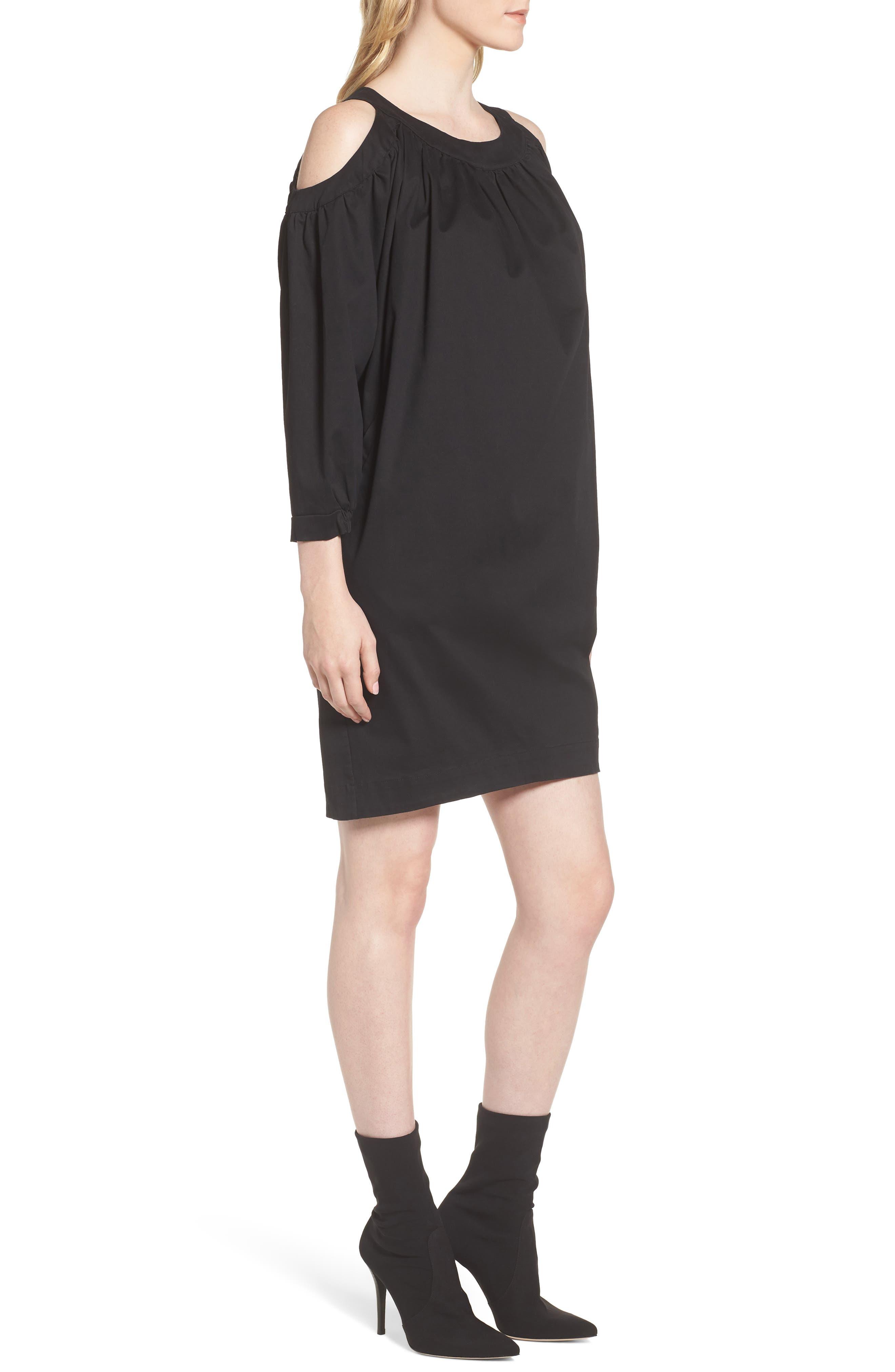 Cold Shoulder Dress,                             Alternate thumbnail 3, color,                             Black