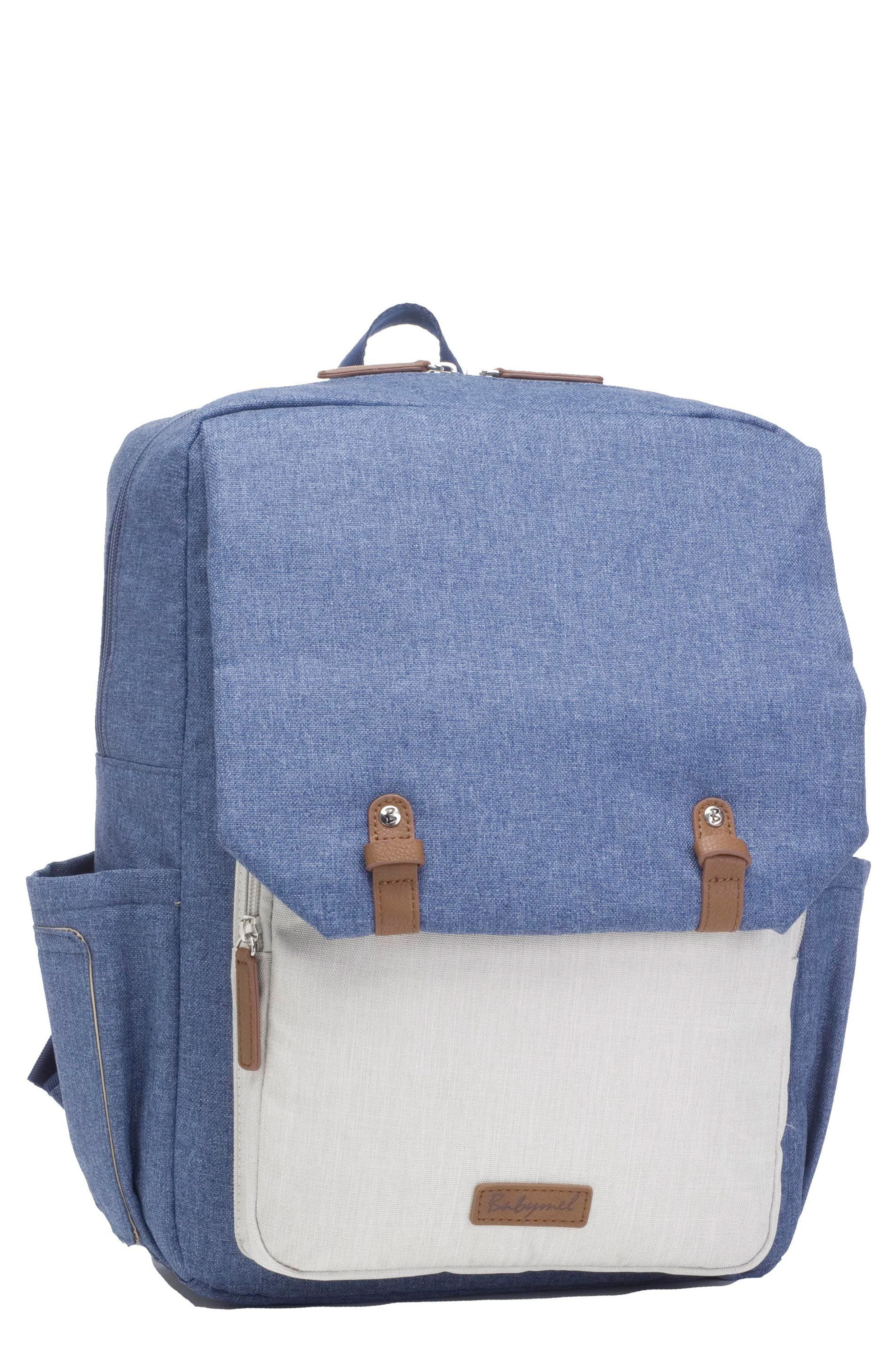 George Water Resistant Diaper Backpack,                             Main thumbnail 1, color,                             Mid Blue/ Oatmeal
