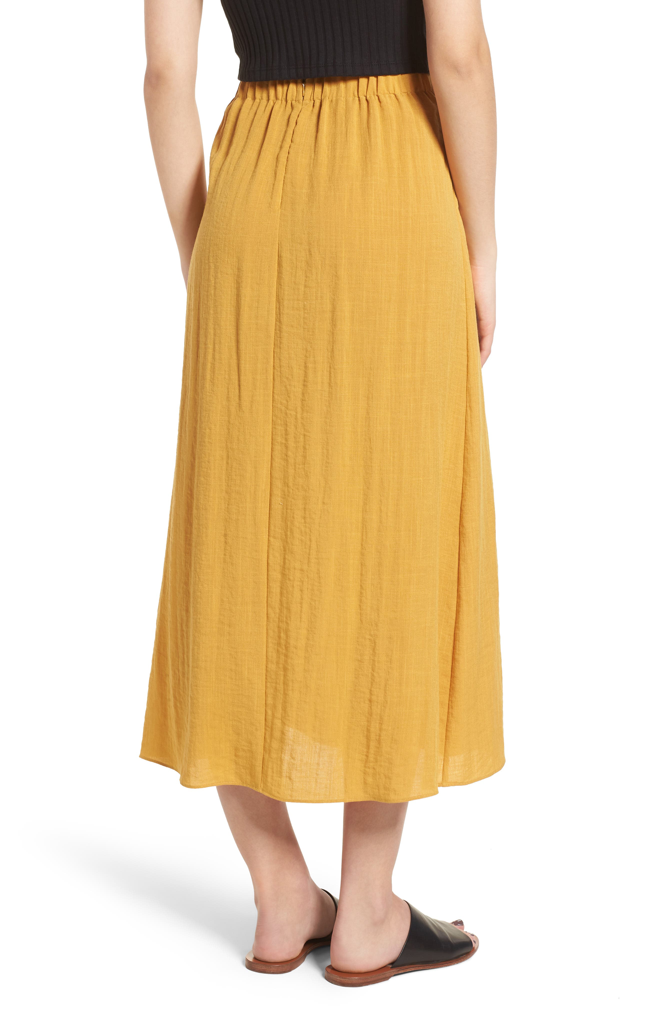 Button Front Midi Skirt,                             Alternate thumbnail 2, color,                             Mustard