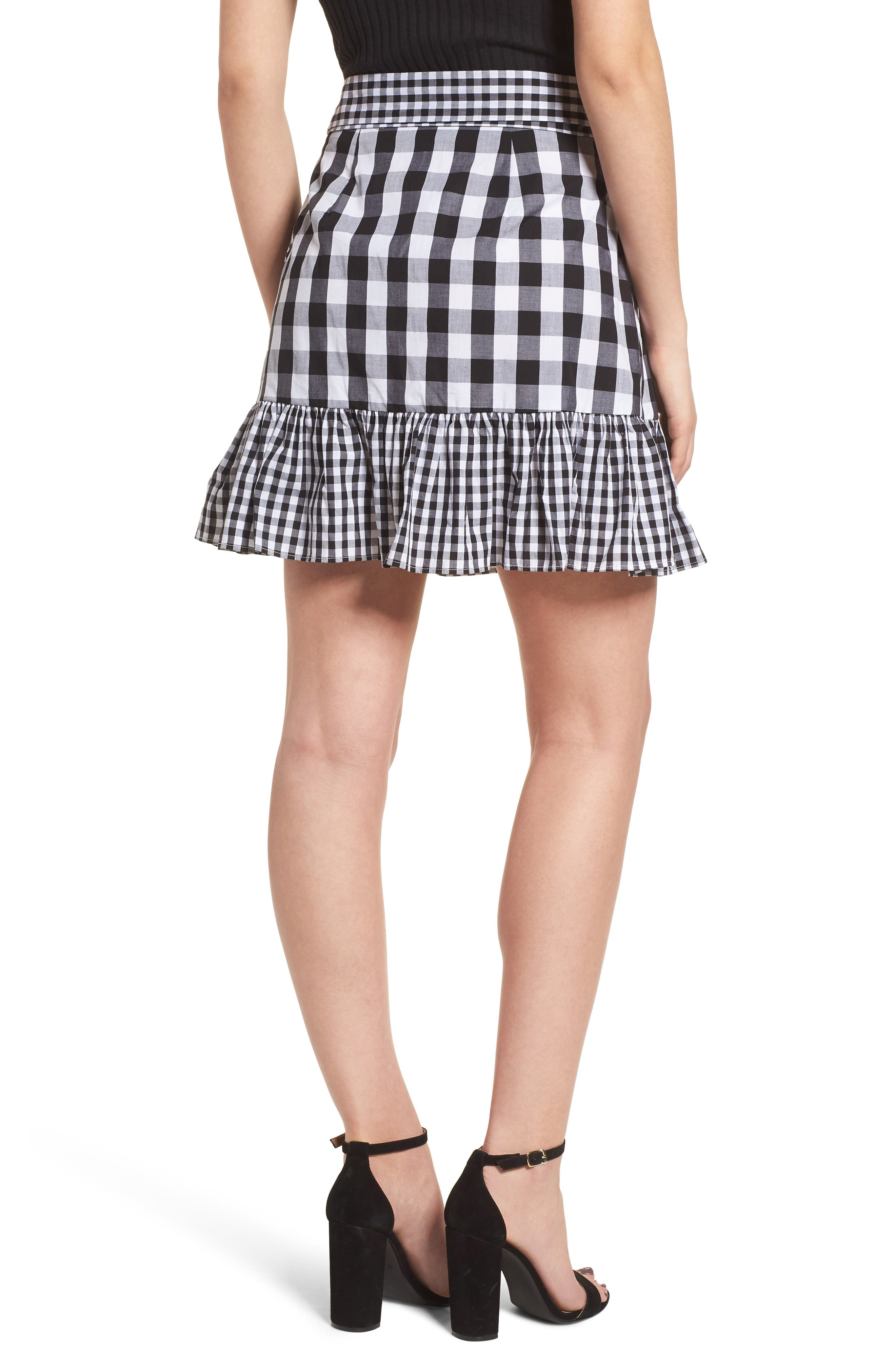 Mixed Check Ruffle Trim Skirt,                             Alternate thumbnail 2, color,                             Black Lexi Gingham