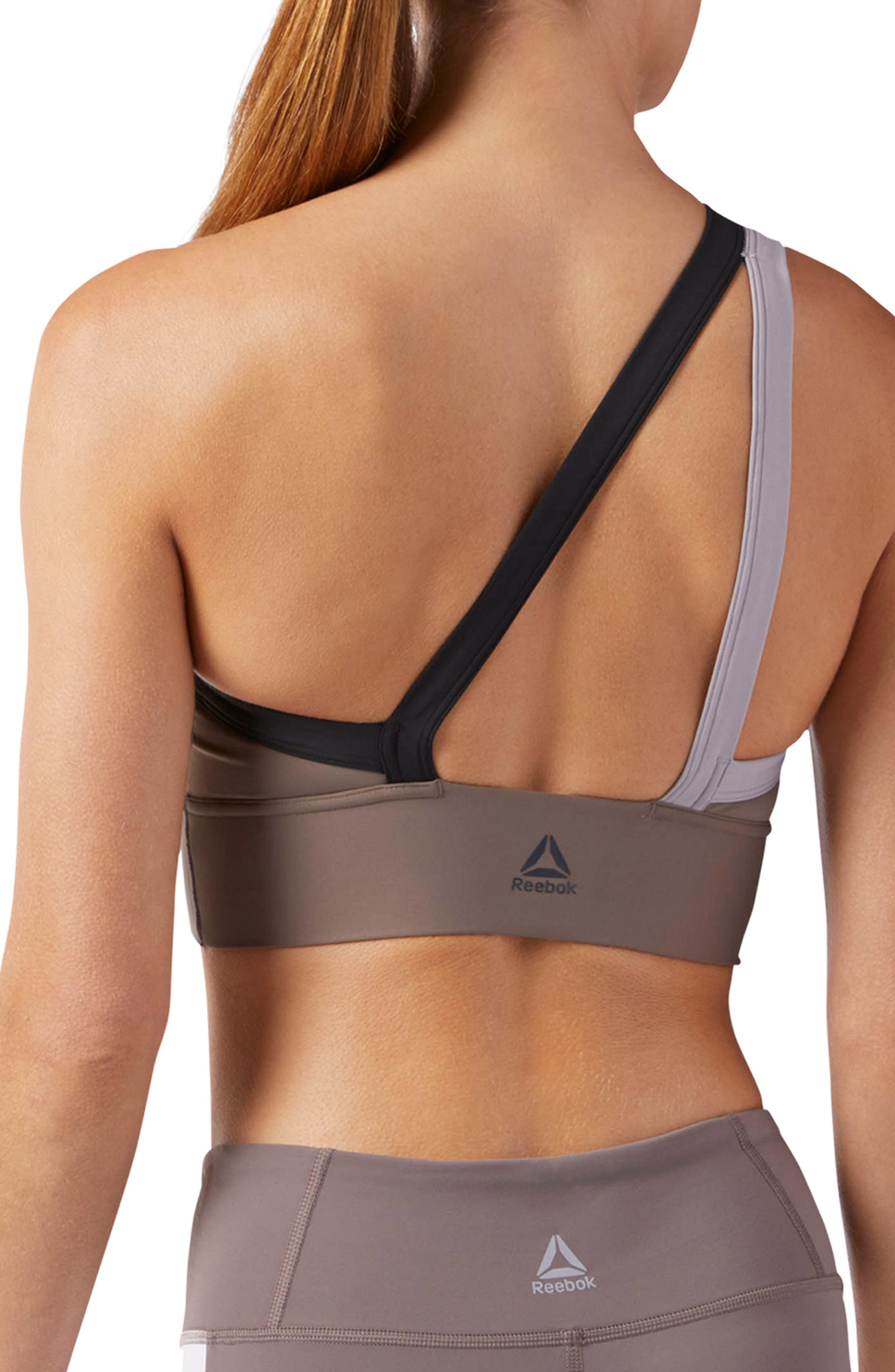 One-Shoulder Sports Bra,                             Alternate thumbnail 2, color,                             Smoky Taupe S18-R