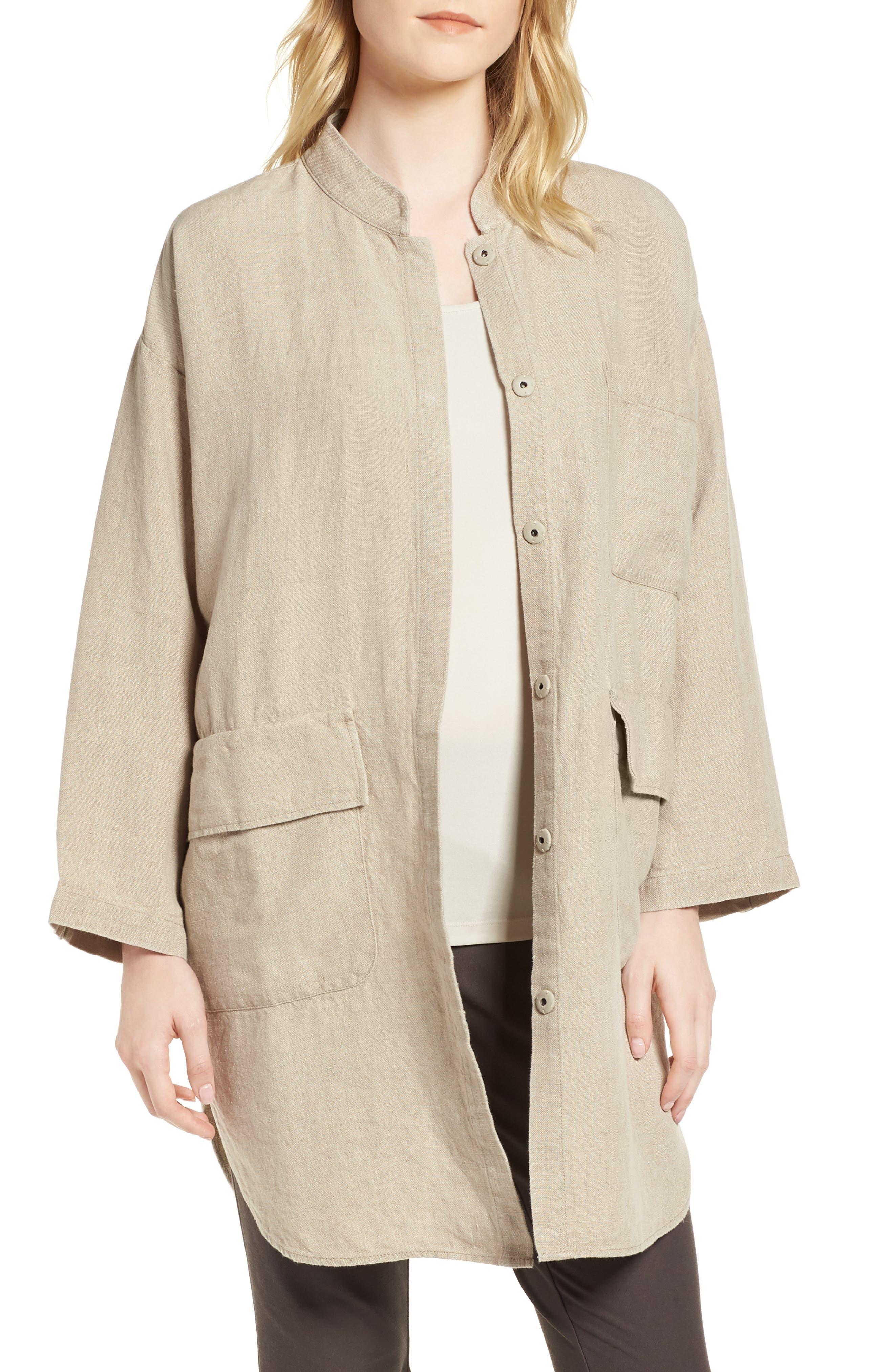 Organic Linen Jacket,                         Main,                         color, Undyed Natural