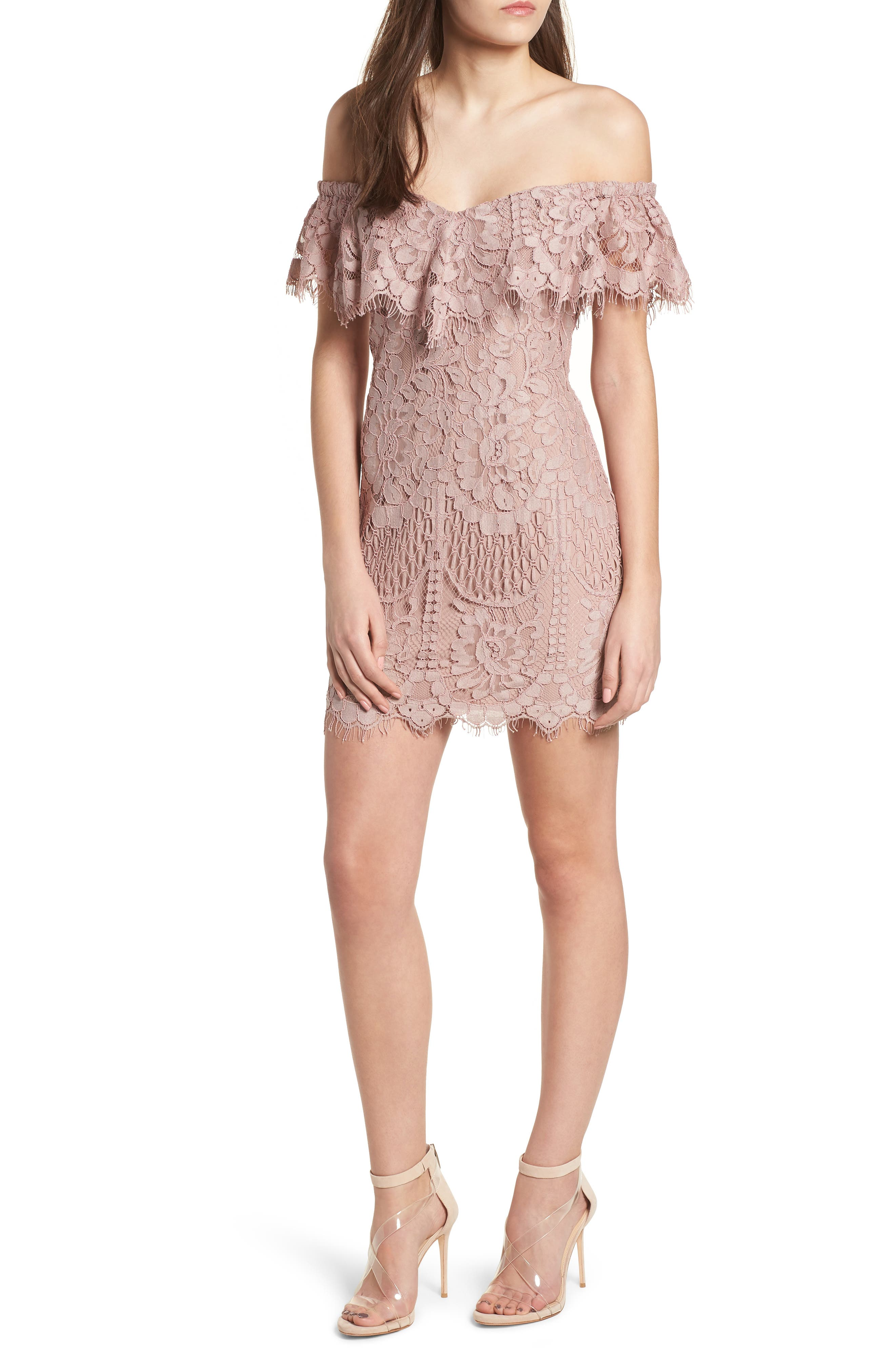 WAYF Venice Off the Shoulder Lace Minidress