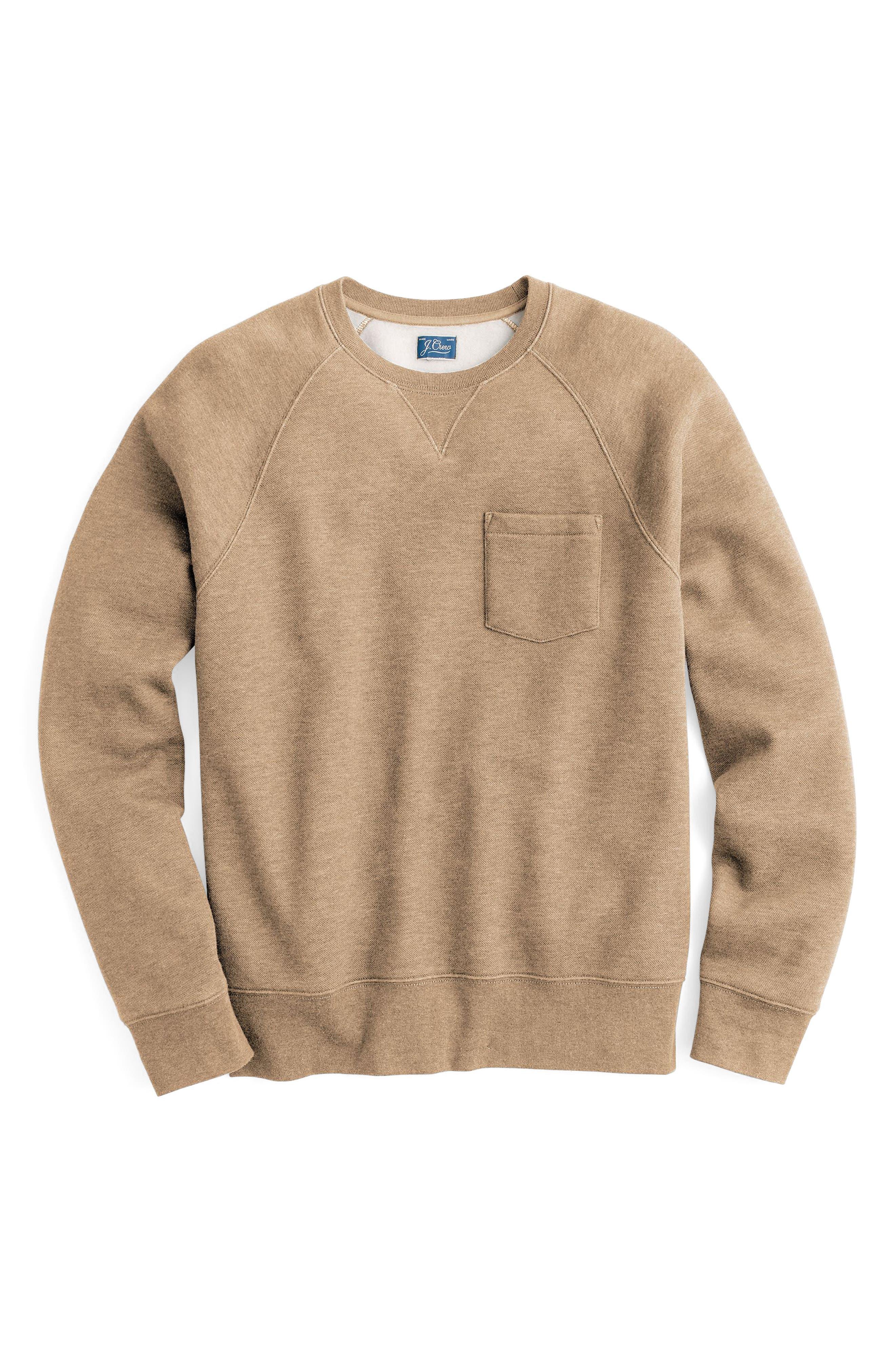 Textured Piqué Fleece Sweatshirt,                             Alternate thumbnail 3, color,                             Heather Nut