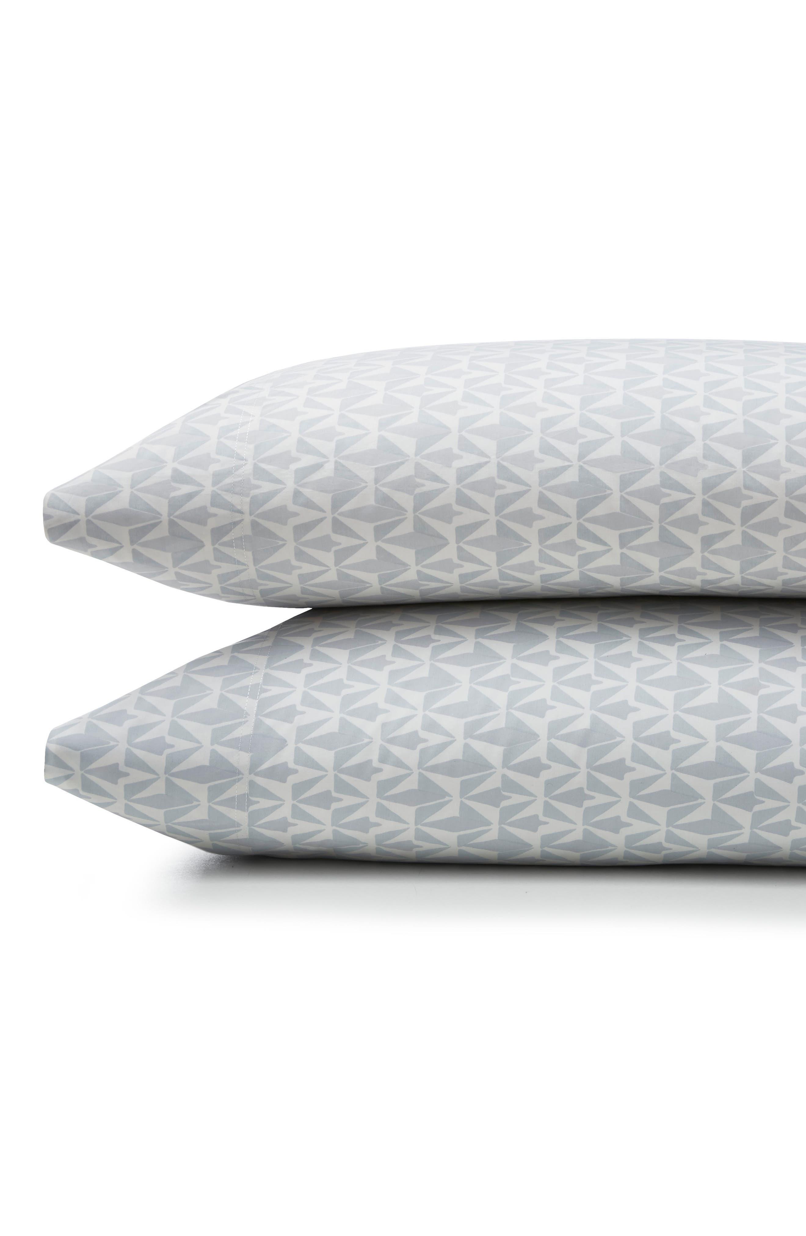 Grasslands 300 Thread Count Pair of Pillowcases,                         Main,                         color, Nibus/ Light/ Pastel Grey