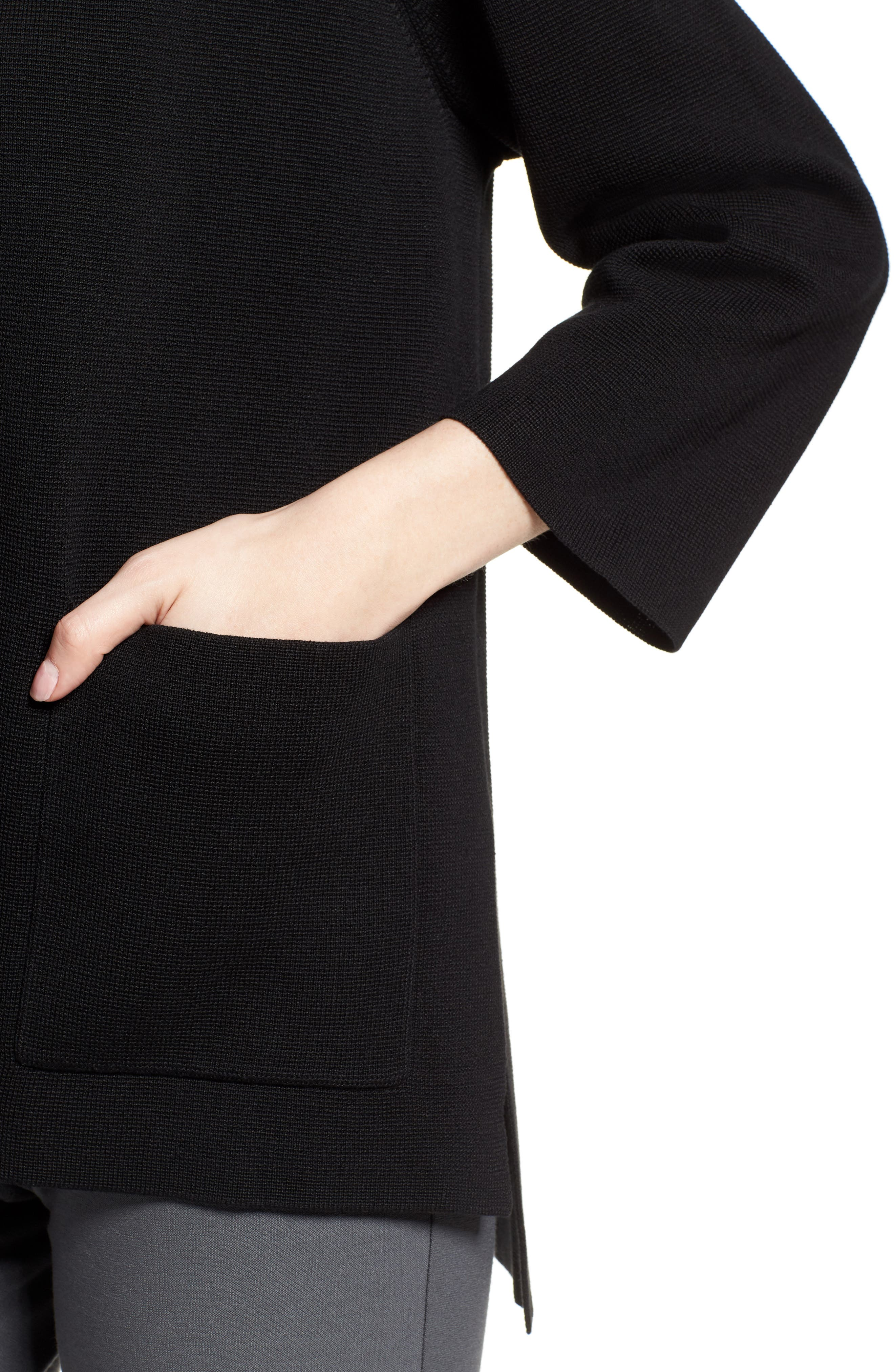 Stand Collar Silk & Organic Cotton Cardigan,                             Alternate thumbnail 4, color,                             Black