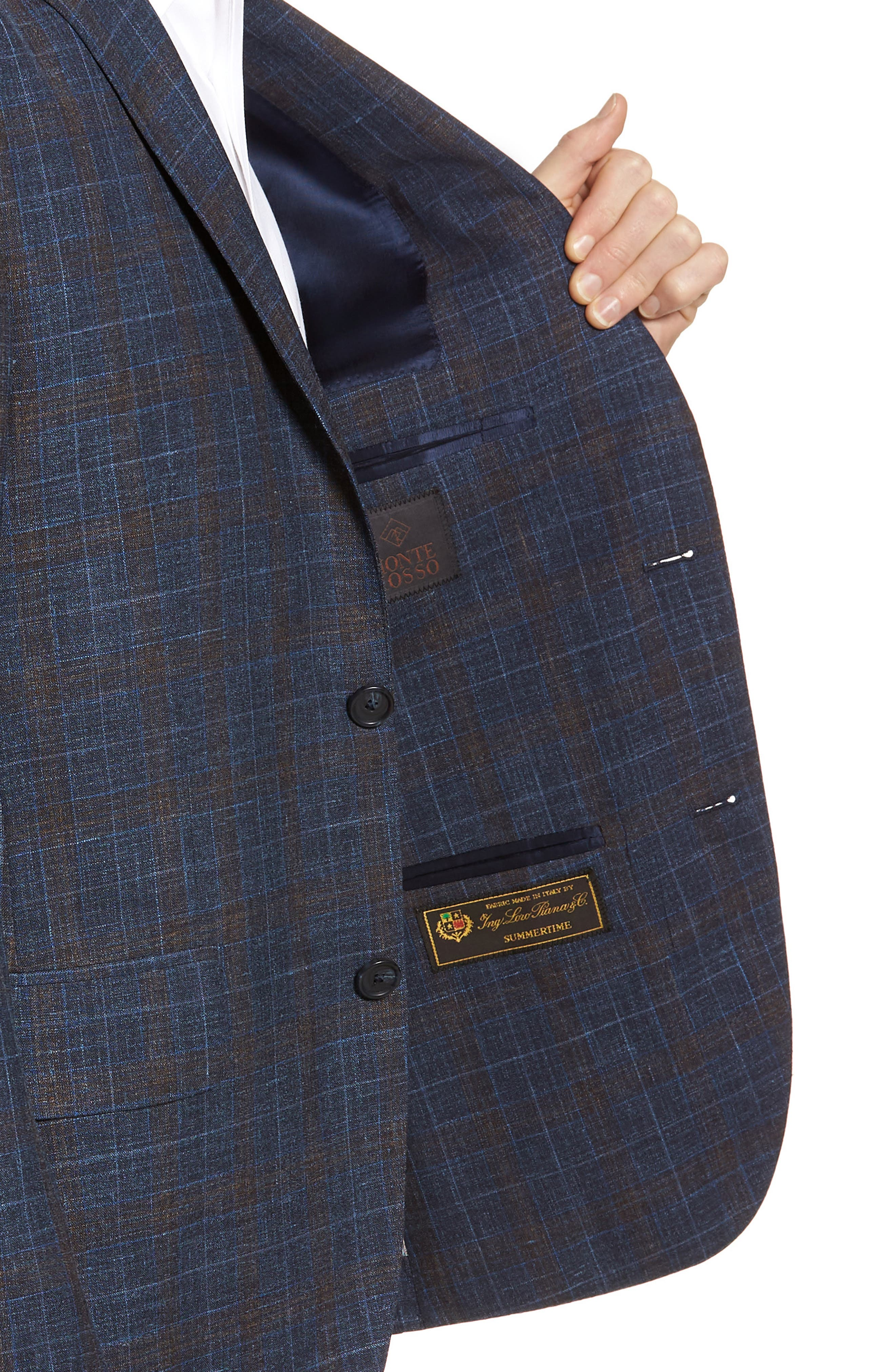 Trim Fit Plaid Wool Blend Sport Coat,                             Alternate thumbnail 4, color,                             Navy