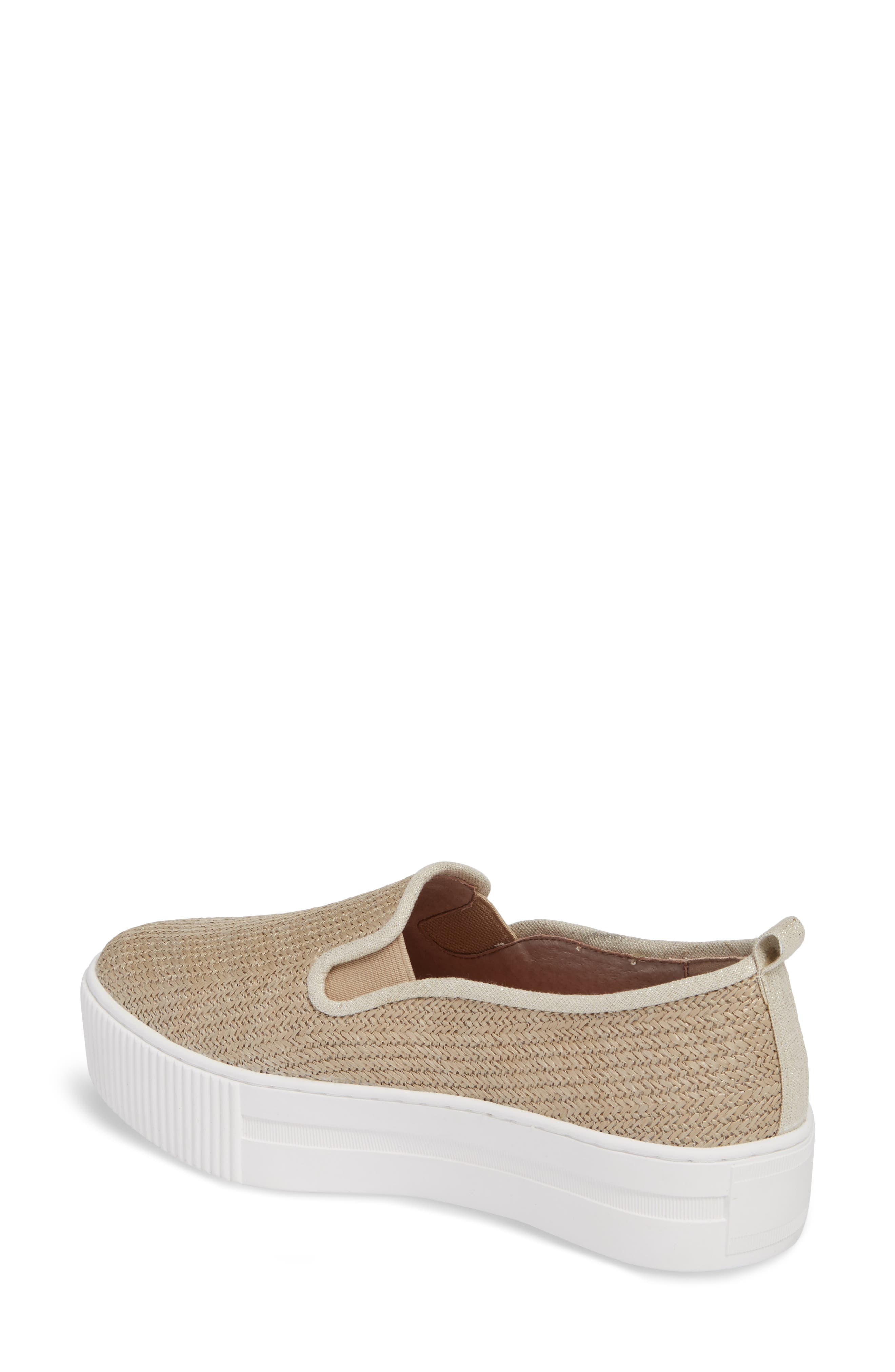 Baylee Platform Slip-On Sneaker,                             Alternate thumbnail 2, color,                             Natural Raffia