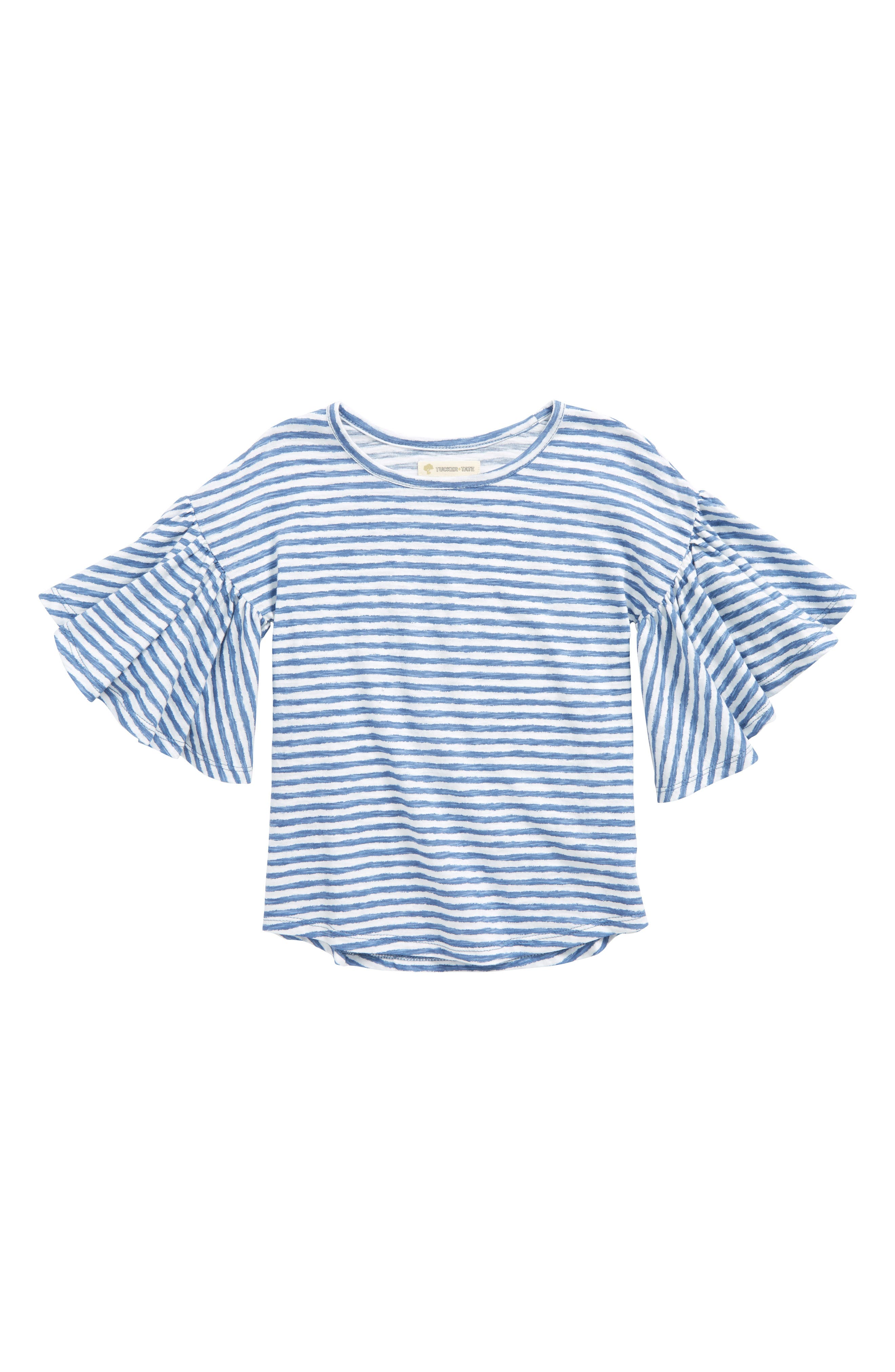 Ruffle Sleeve Top,                         Main,                         color, White- Blue Stripe