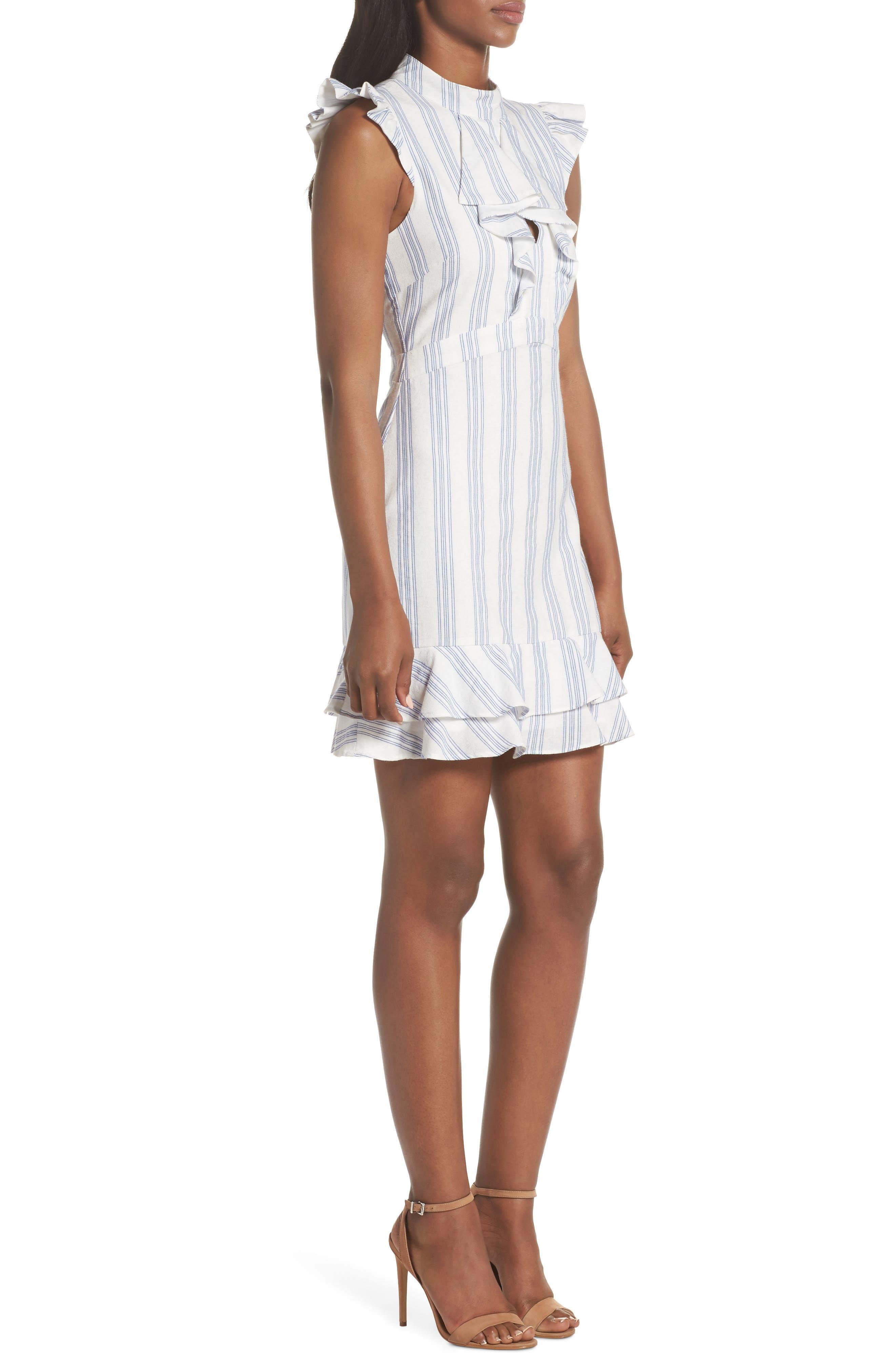 Stripe Ruffle Sheath Dress,                             Alternate thumbnail 3, color,                             White/ Blue