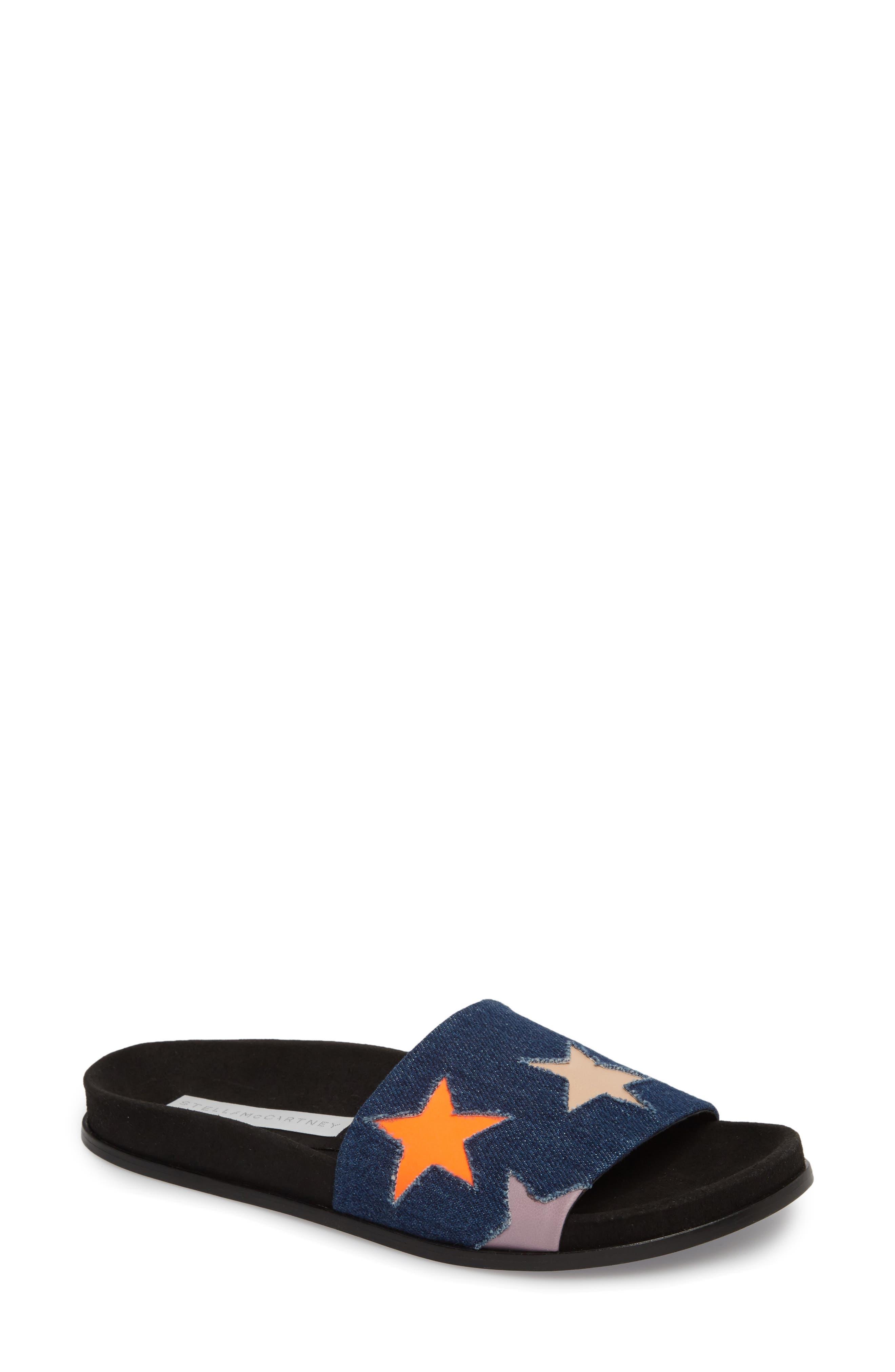 Star Slide Sandal,                             Main thumbnail 1, color,                             Navy