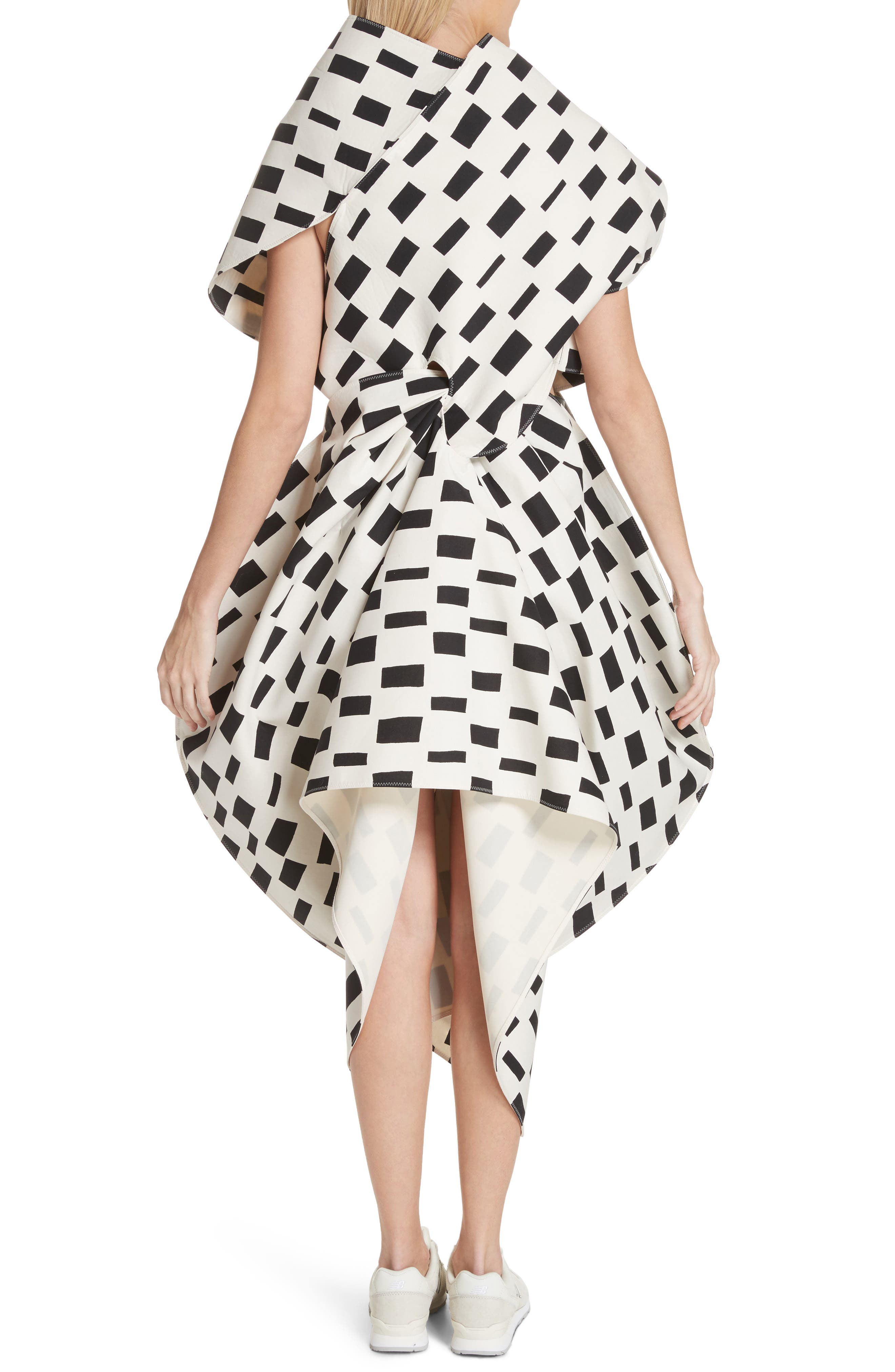 Interweave Geo Print Dress,                             Alternate thumbnail 2, color,                             Off White/ Black