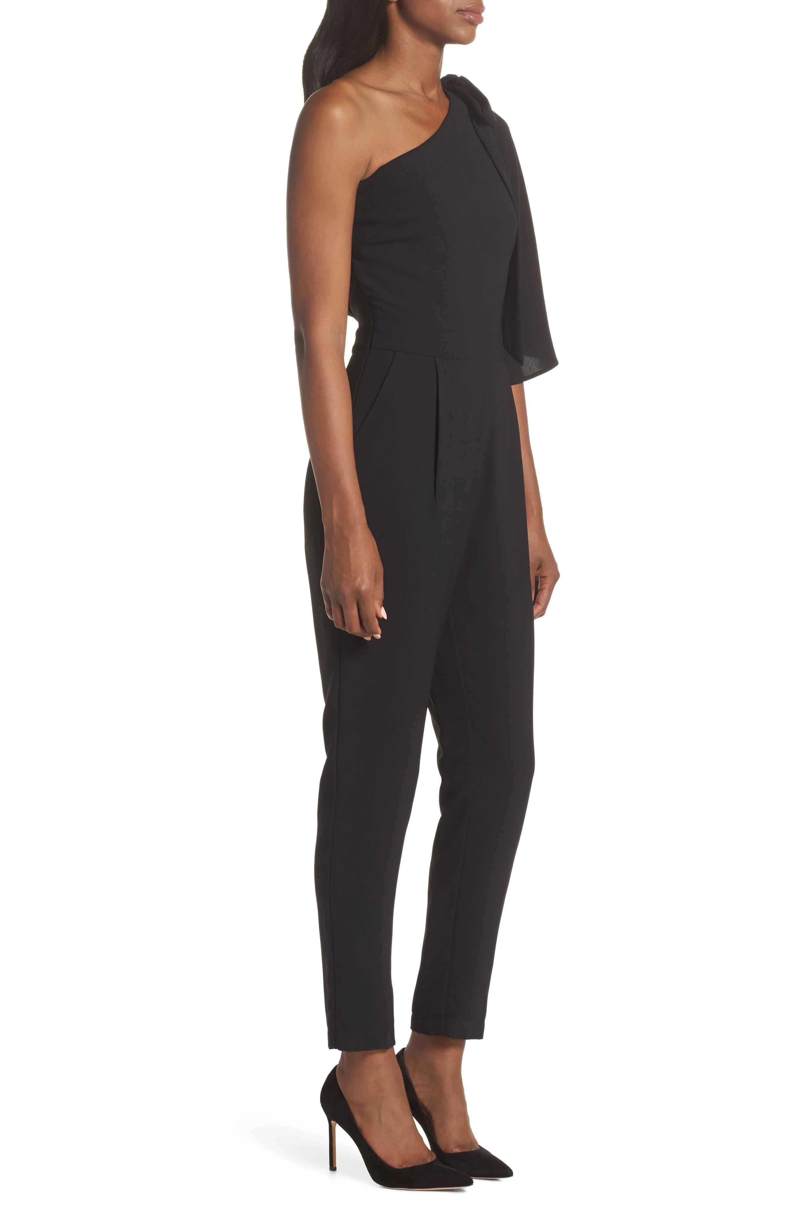 Willow One-Shoulder Jumpsuit,                             Alternate thumbnail 3, color,                             Black