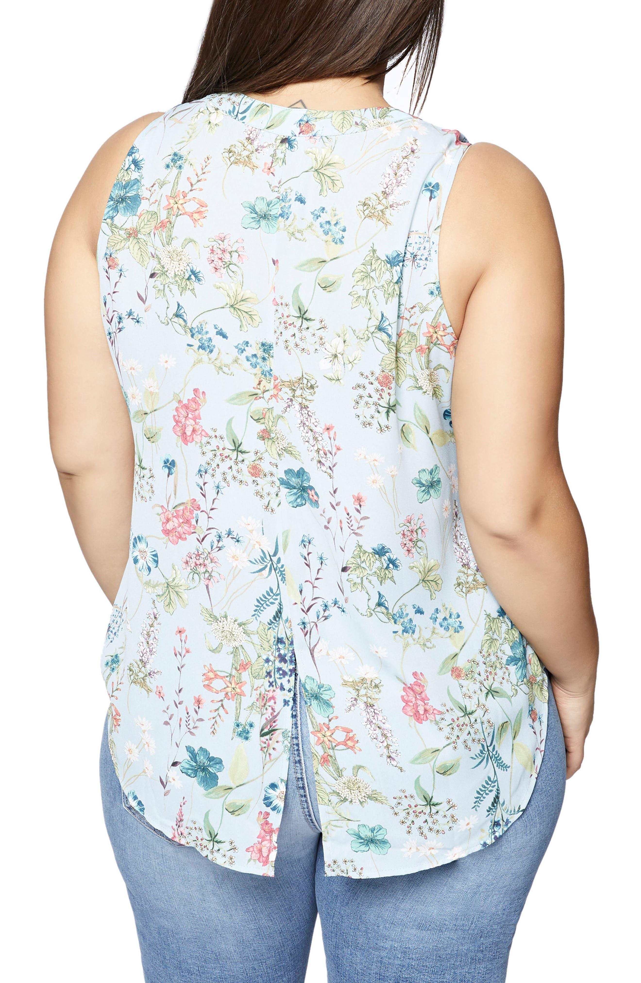 Craft Floral Print Shell,                             Alternate thumbnail 2, color,                             Bluebell