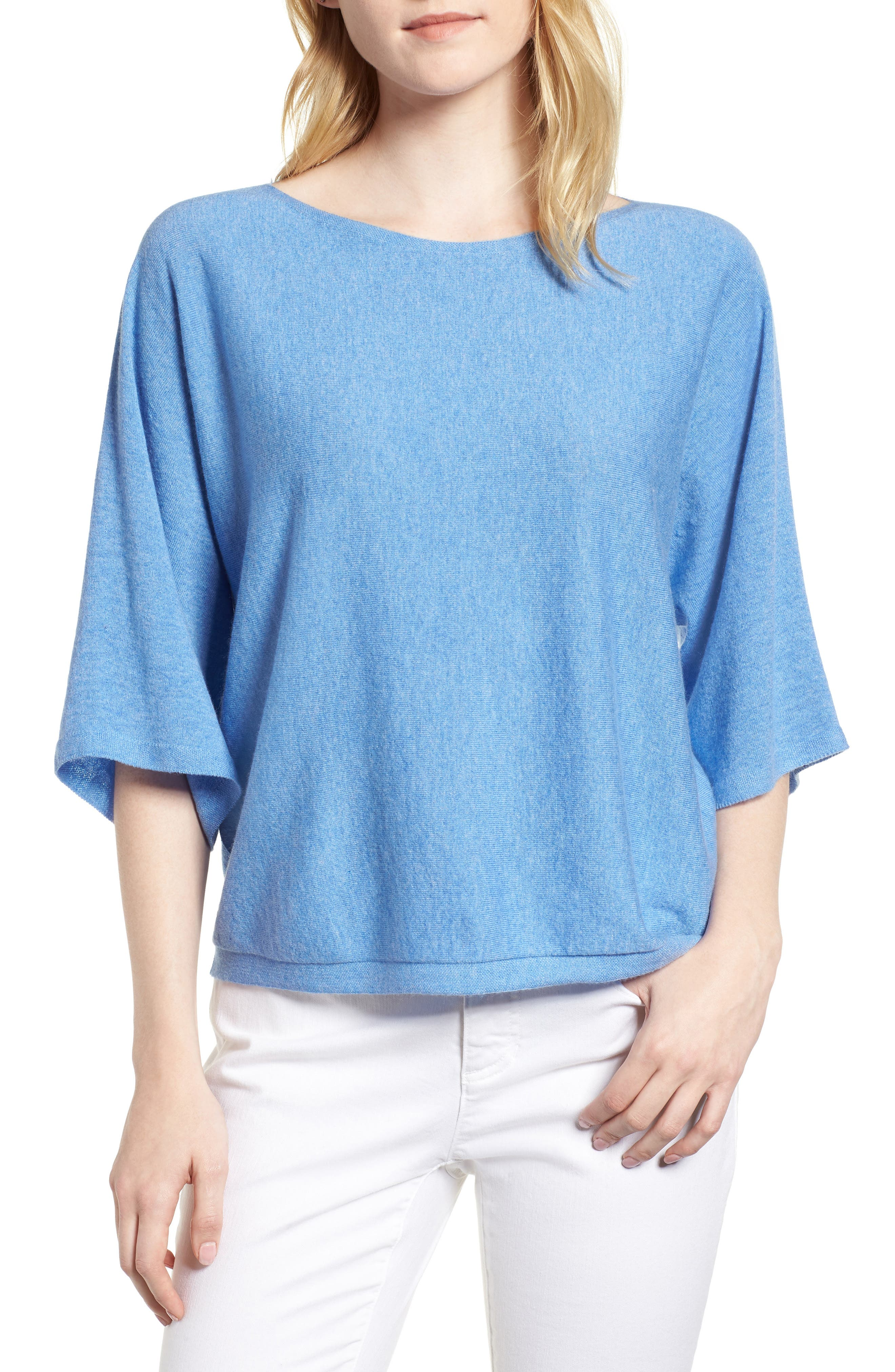 Cashmere Sweater,                         Main,                         color, Bluebell