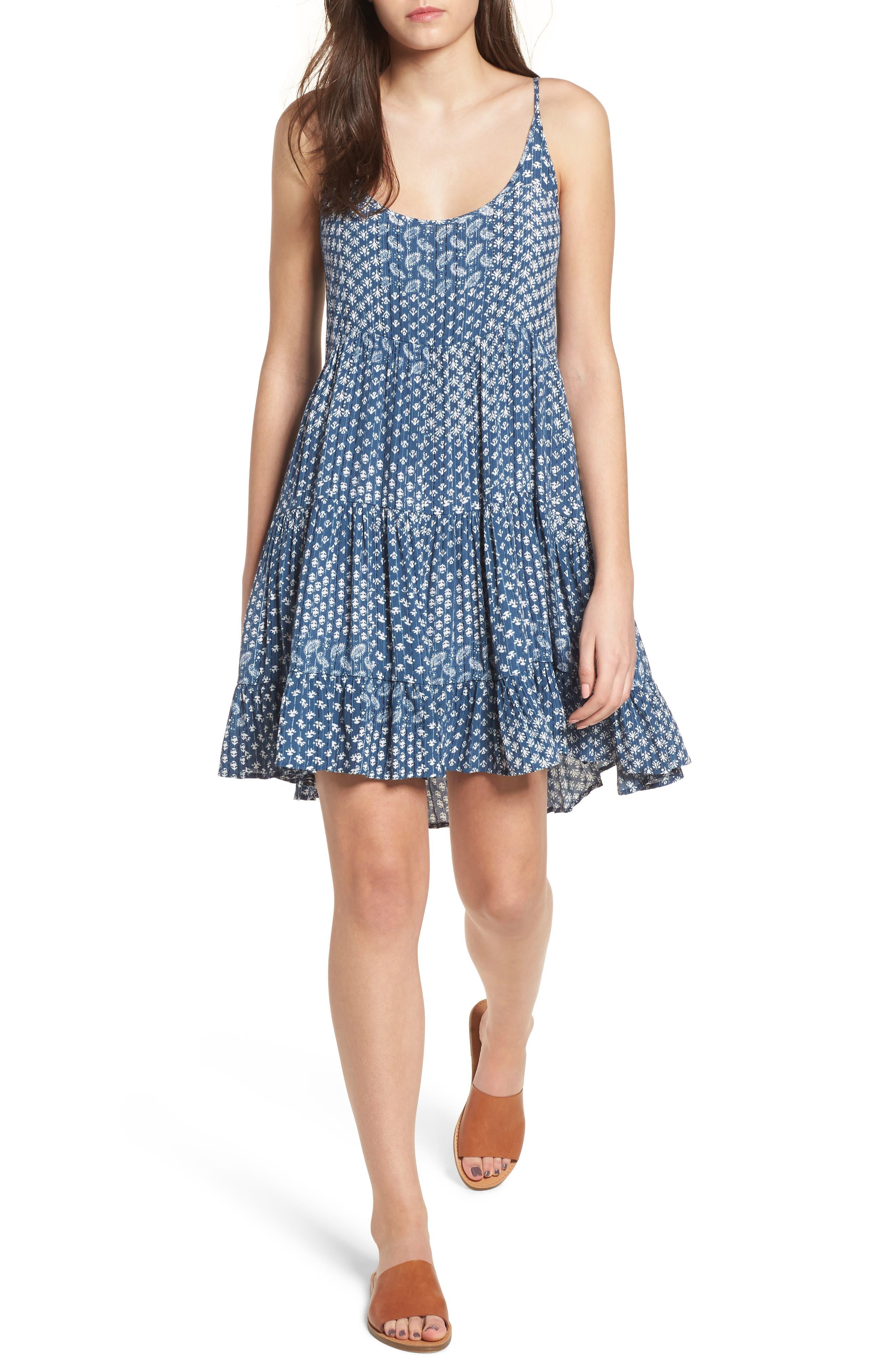 Amber Swing Dress,                         Main,                         color, Indigo Patchwork