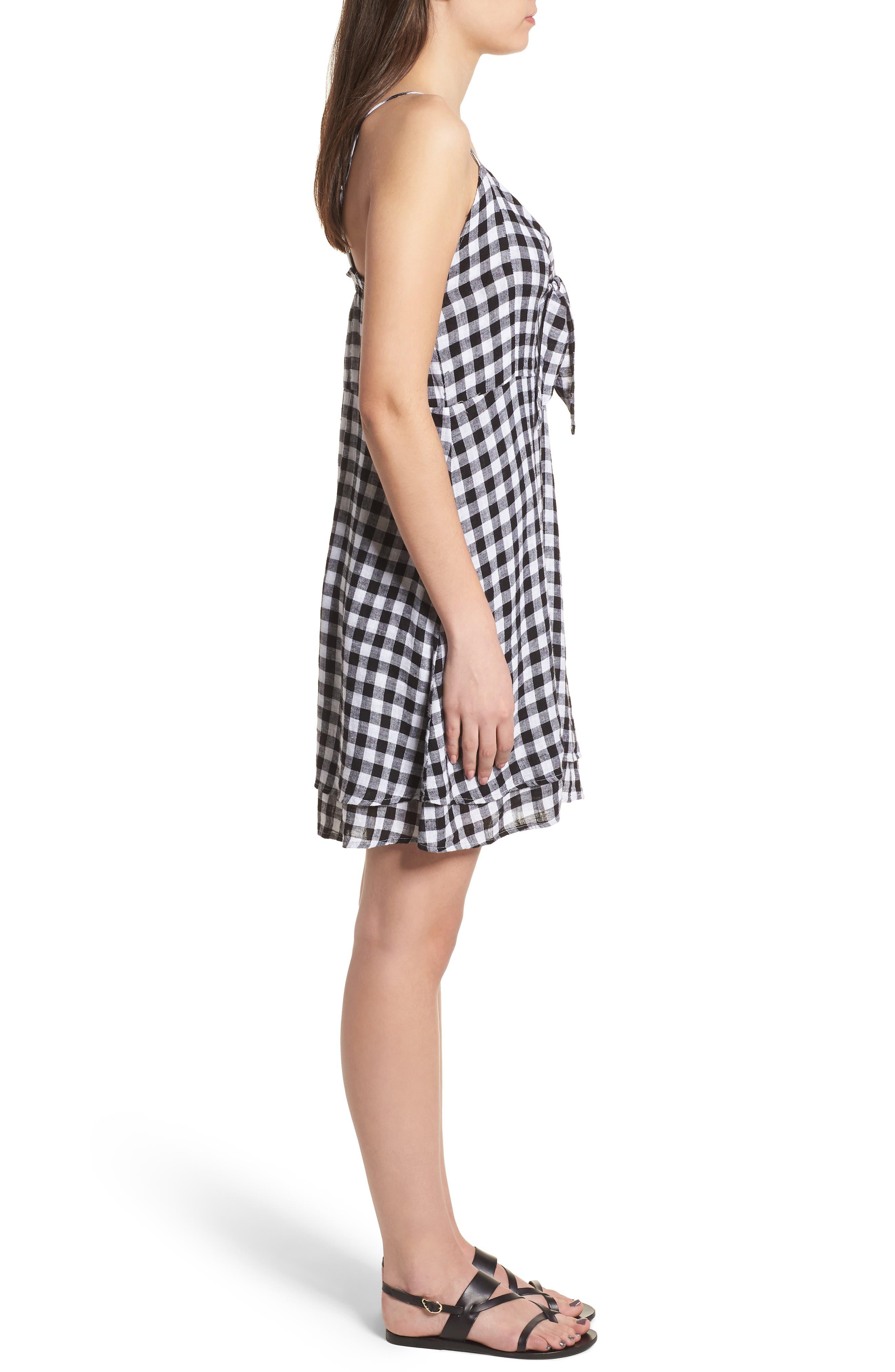 August Gingham Tie Front Dress,                             Alternate thumbnail 3, color,                             Black Gingham