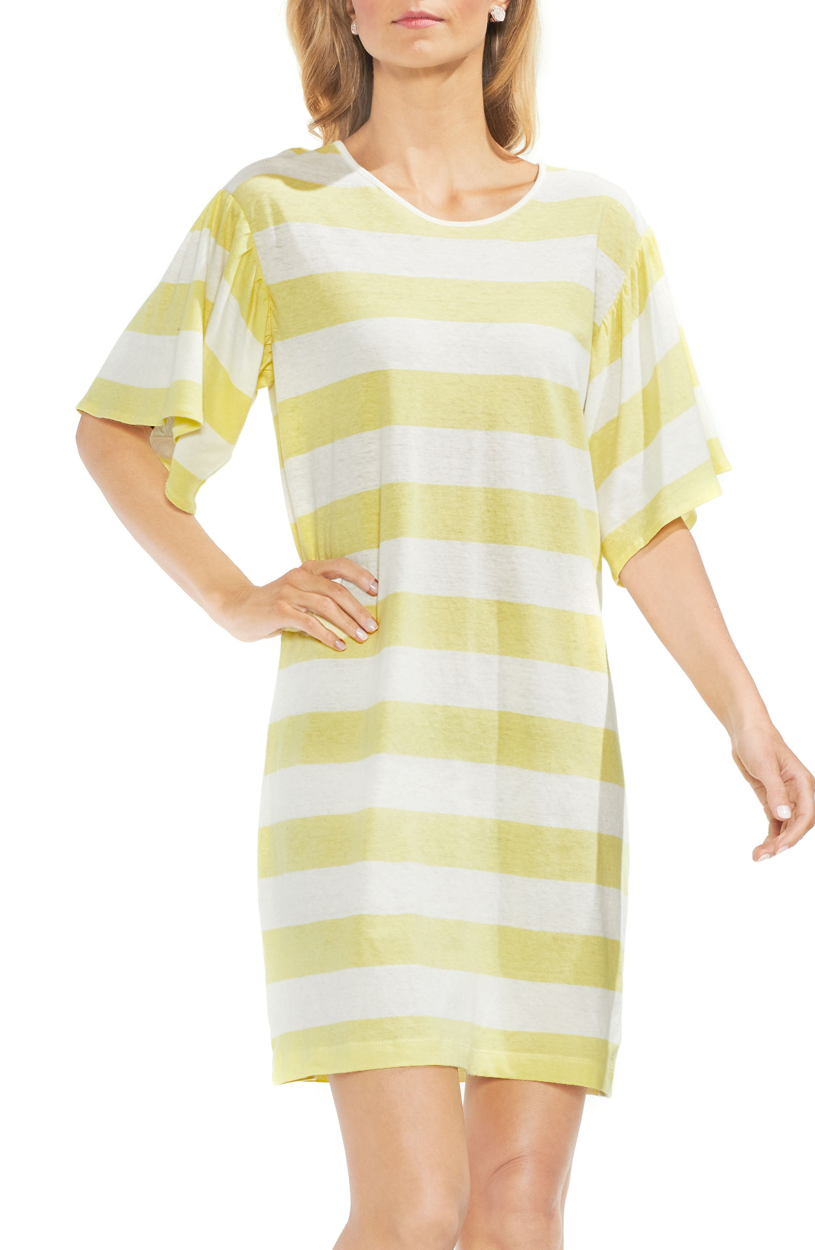Main Image - Vince Camuto Ruffle Sleeve Stripe T-Shirt Dress