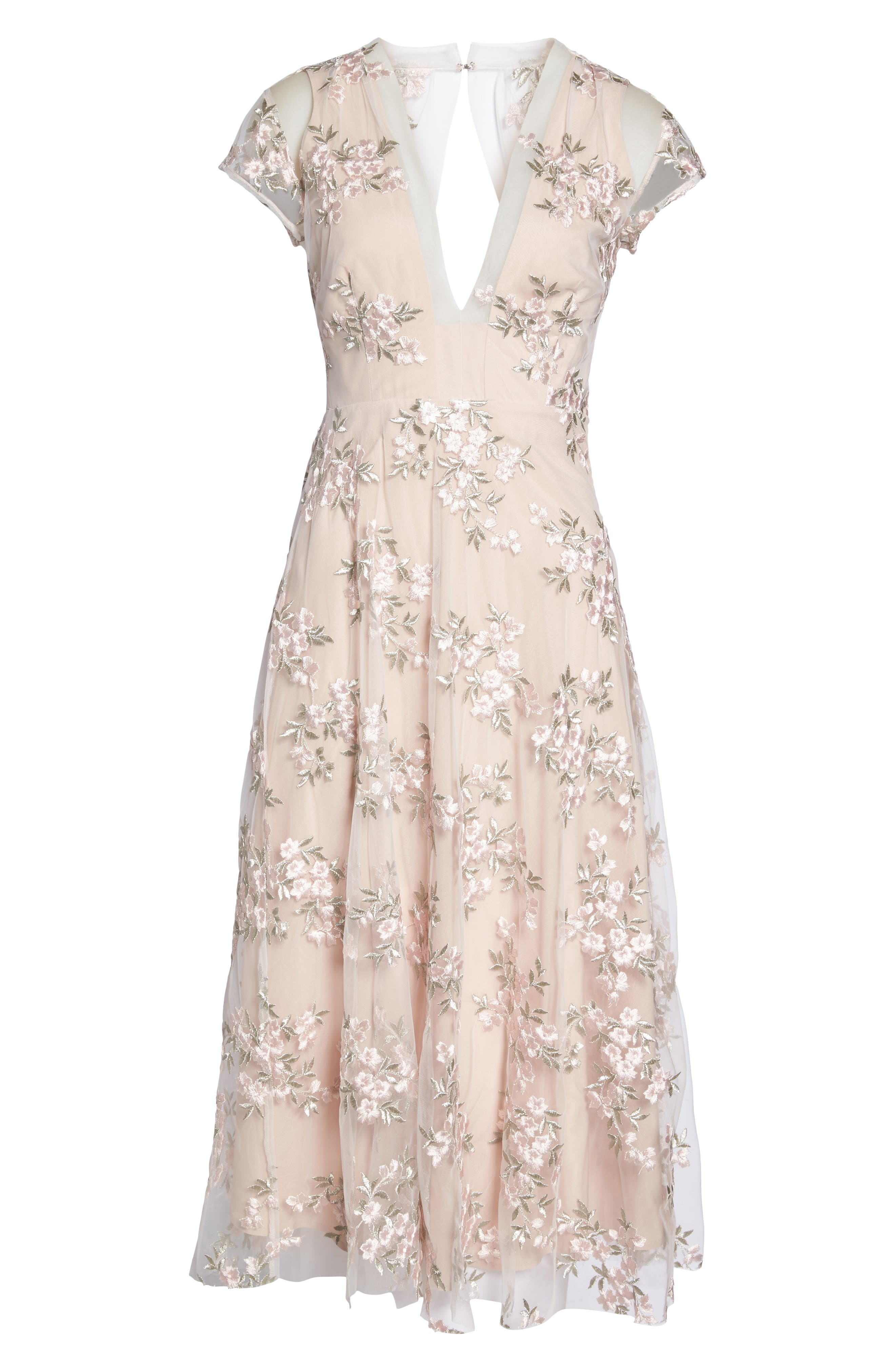 Rosalie Embroidered Midi Dress,                             Alternate thumbnail 6, color,                             Ivory/ Pink