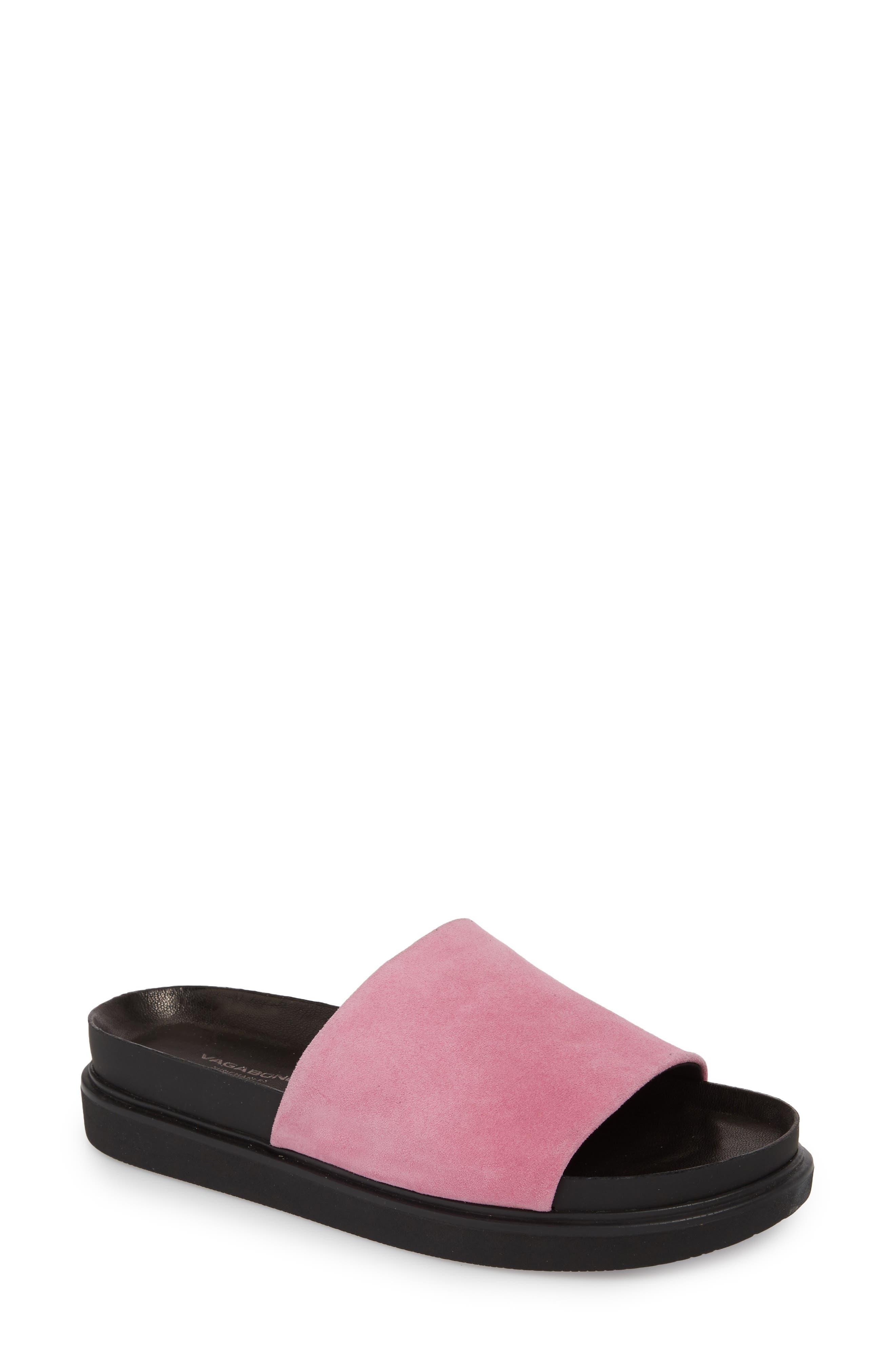Erin Slide Sandal,                         Main,                         color, Pink Suede