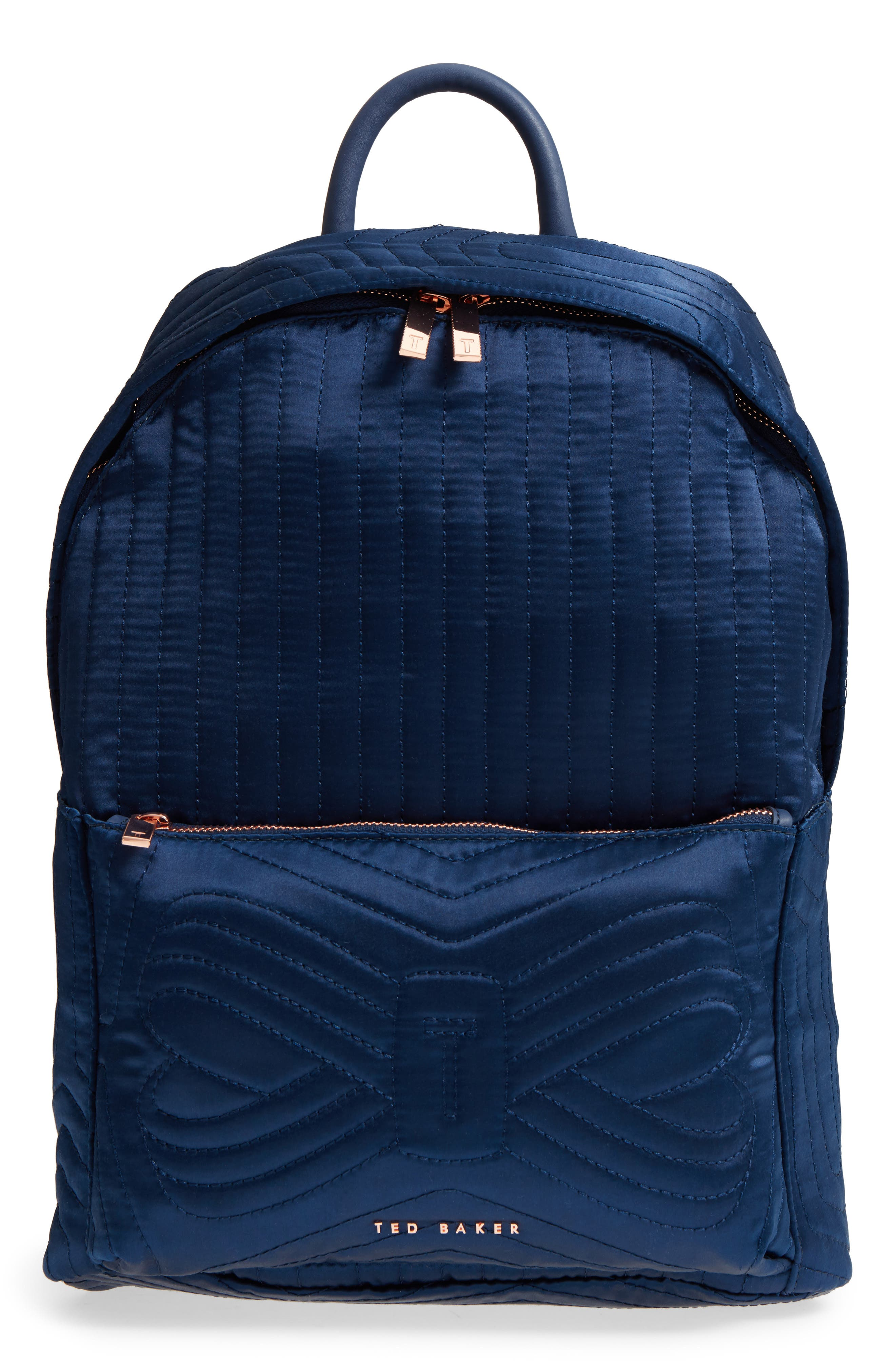 Akija Quilted Bow Backpack,                             Main thumbnail 1, color,                             Navy