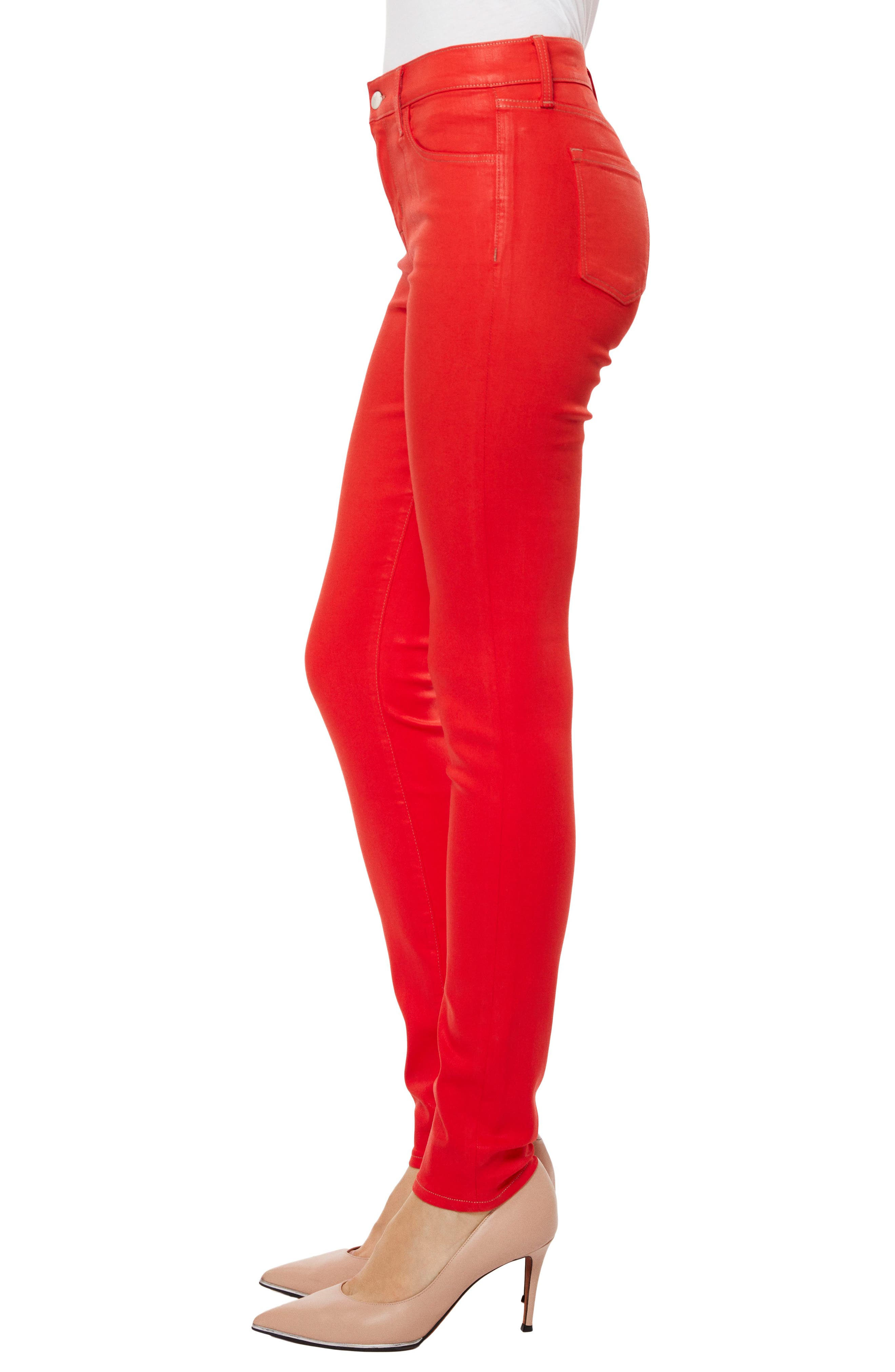Super Skinny Jeans,                             Alternate thumbnail 3, color,                             Bright Coral Coated