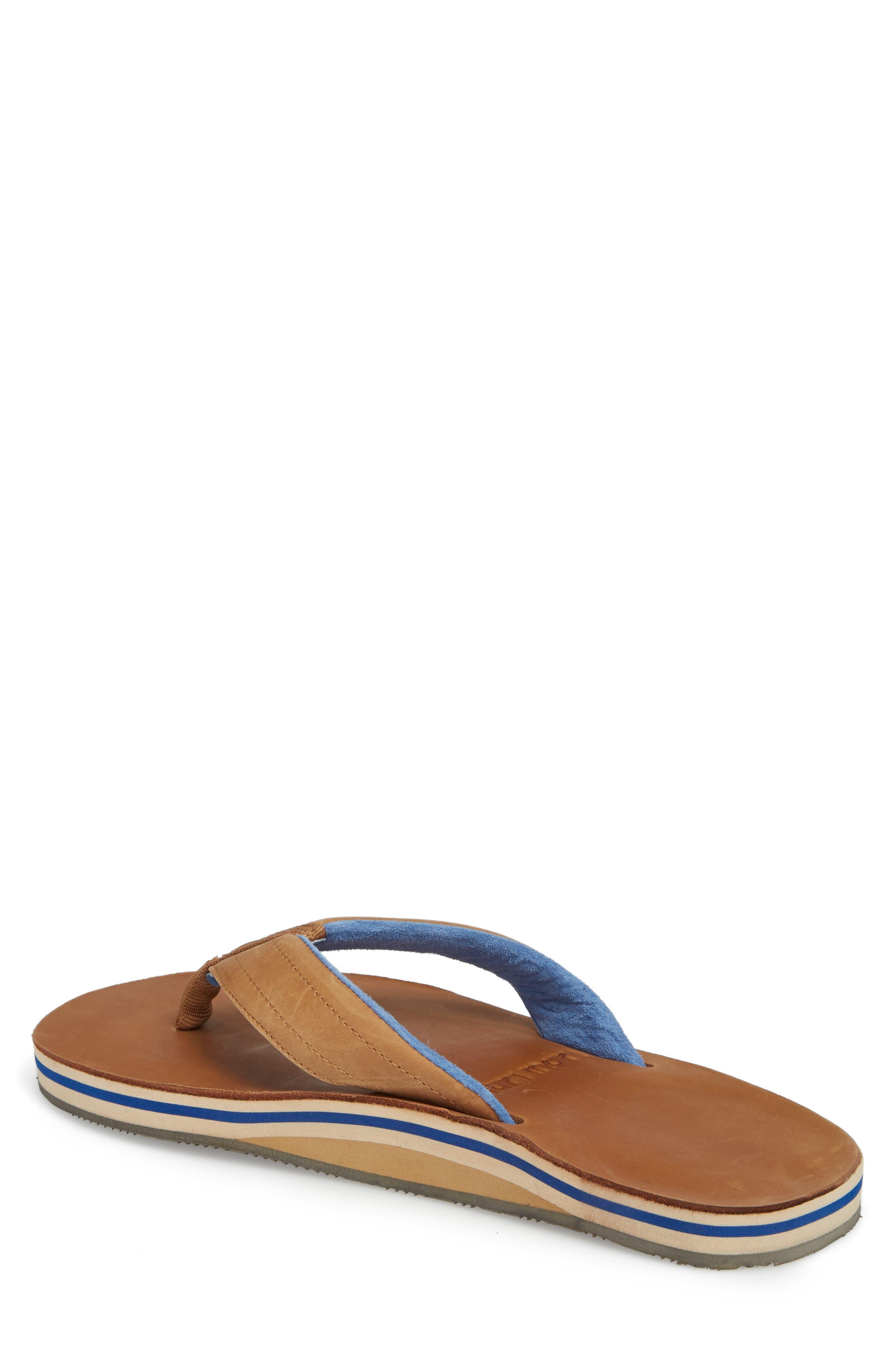 Lakes Sandwich Stripe Flip Flop,                             Alternate thumbnail 2, color,                             Tan/ Navy Leather