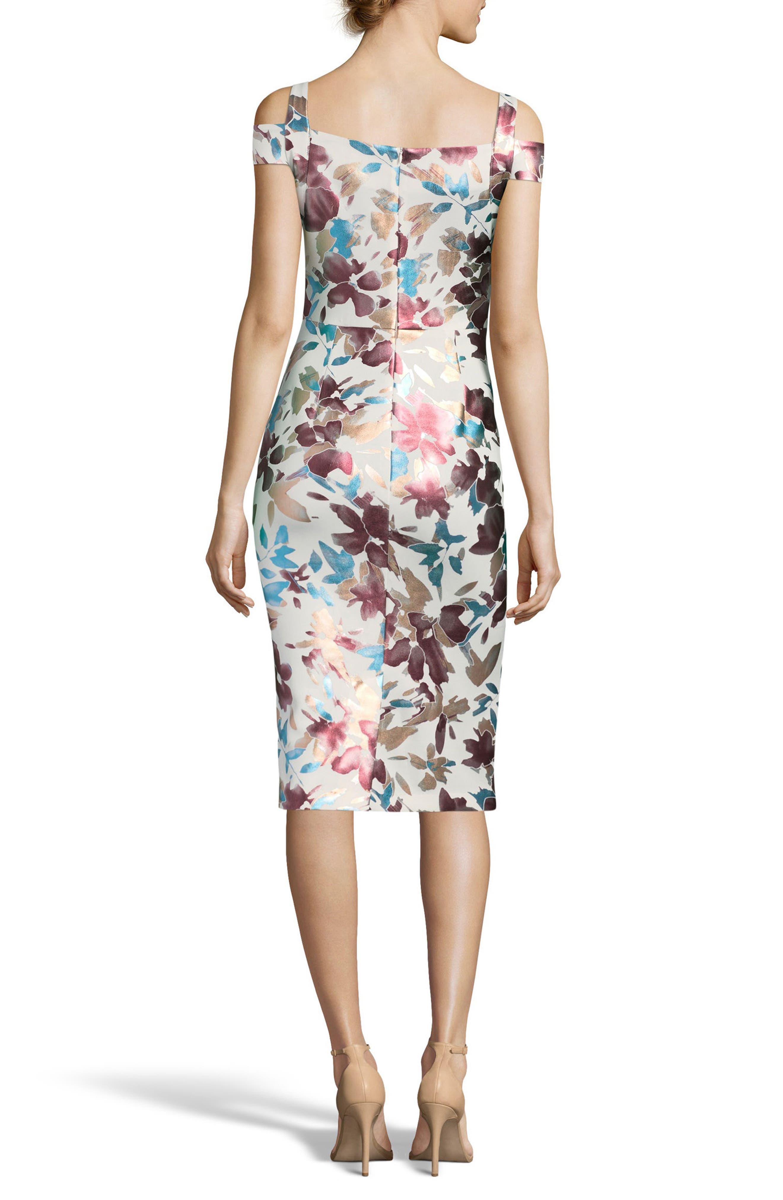 Floral Cold Shoulder Sheath Dress,                             Alternate thumbnail 2, color,                             Ivory/ Rose