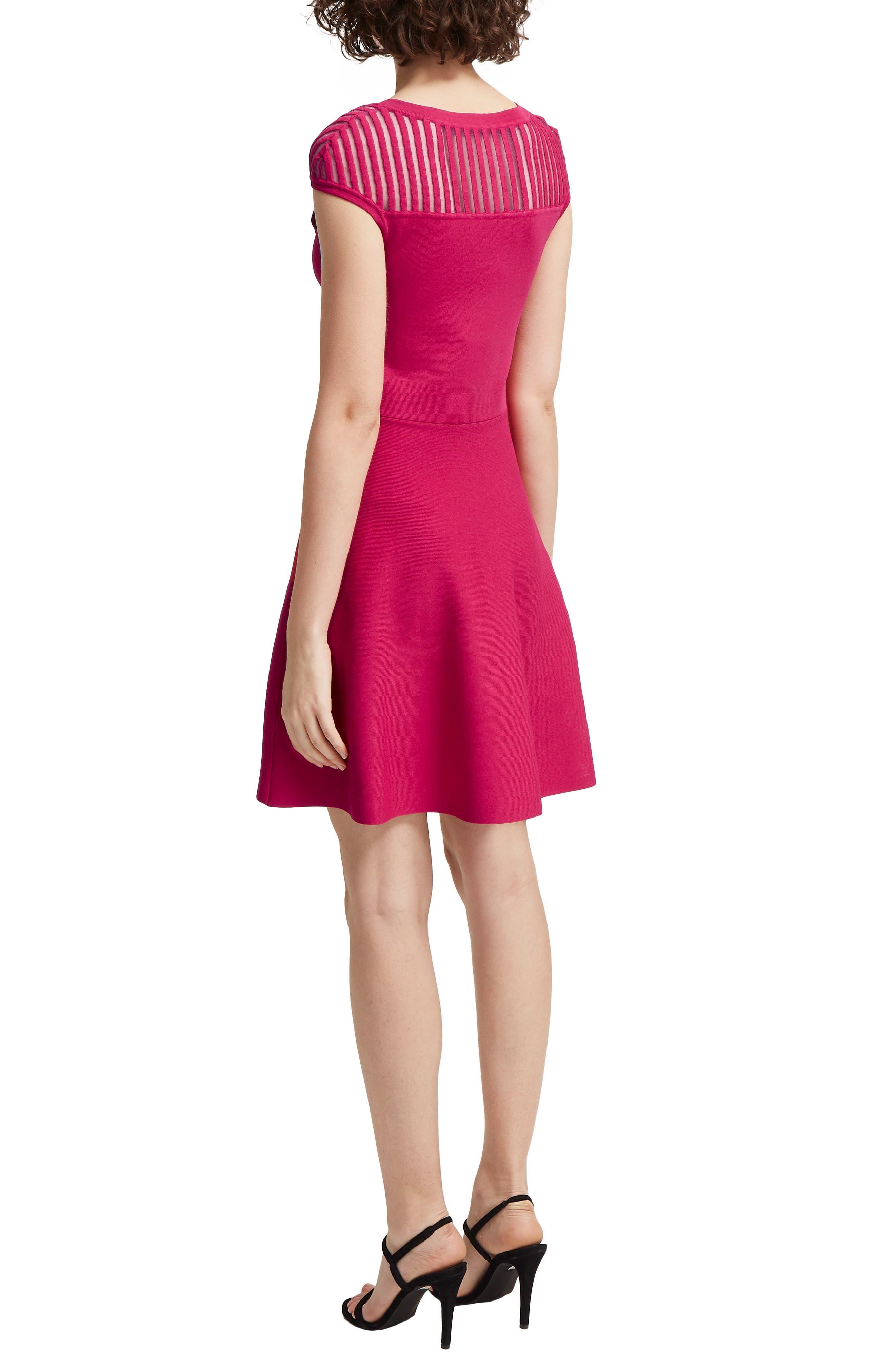 Rose Fit & Flare Dress,                             Alternate thumbnail 2, color,                             Magenta Haze