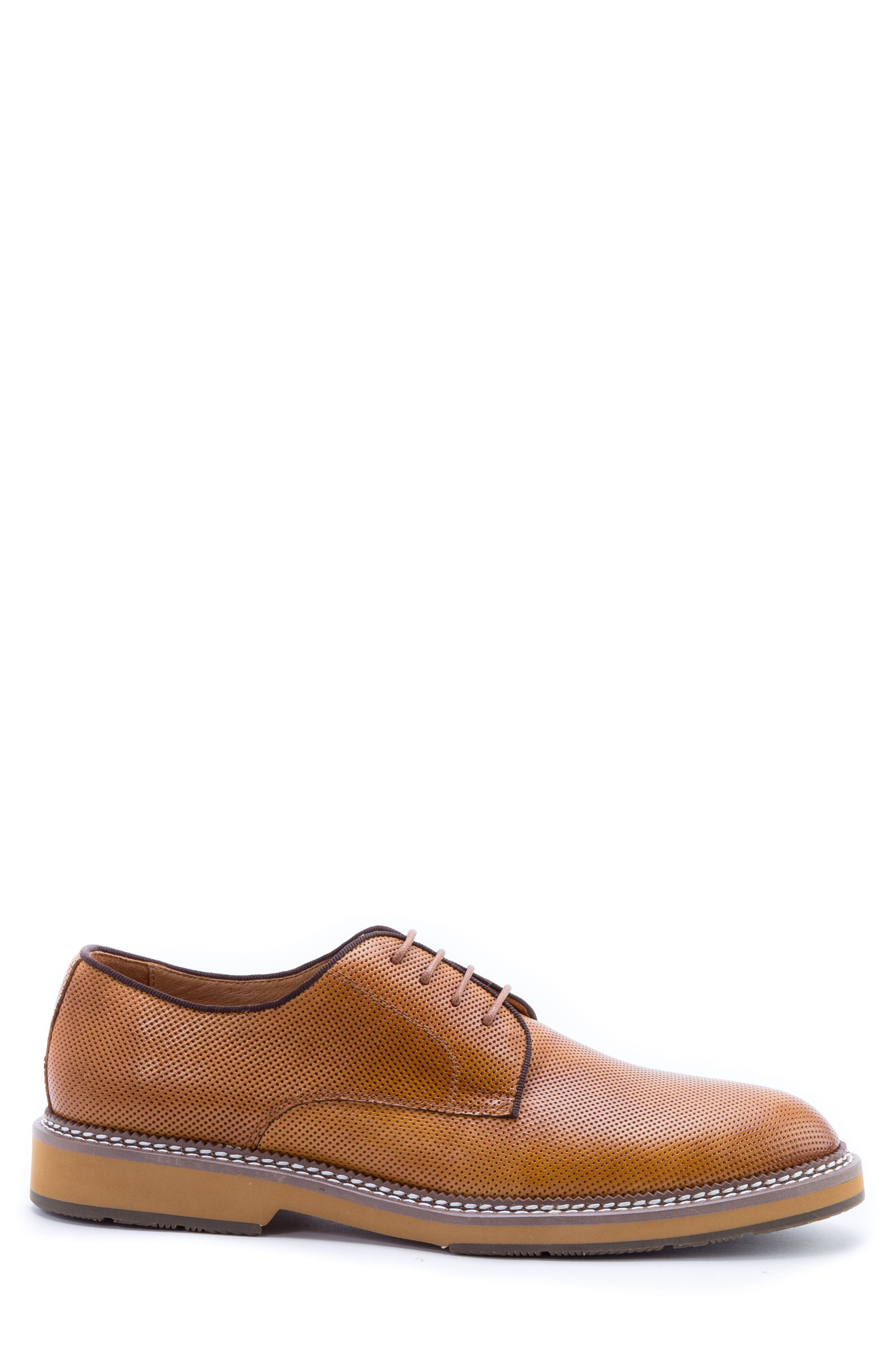 Monticello Perforated Plain Toe Derby,                             Alternate thumbnail 3, color,                             Cognac Leather